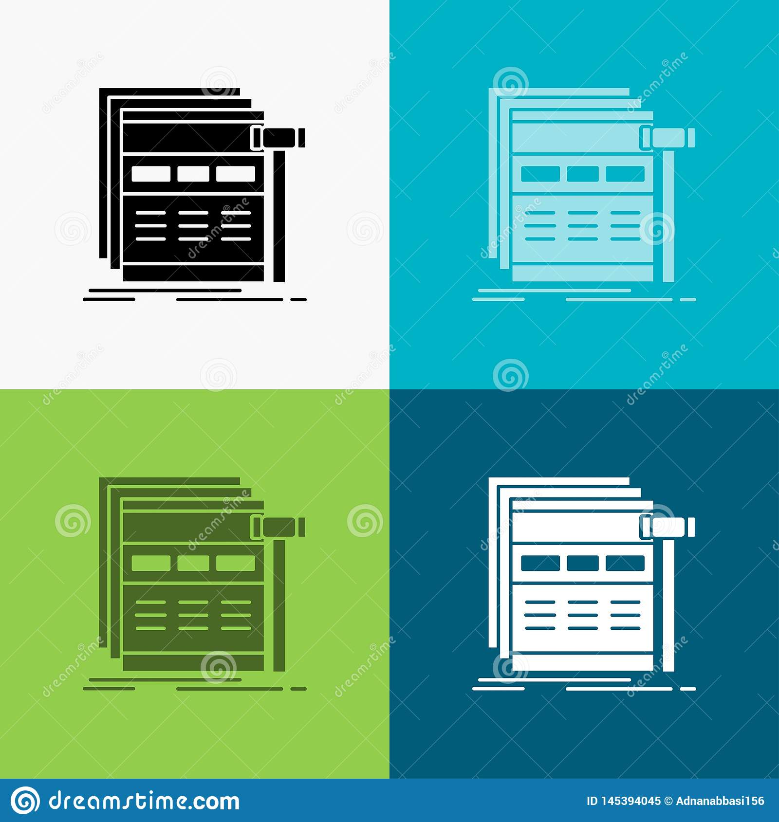 Internet, page, web, webpage, wireframe Icon Over Various Background. glyph style design, designed for web and app. Eps 10 vector
