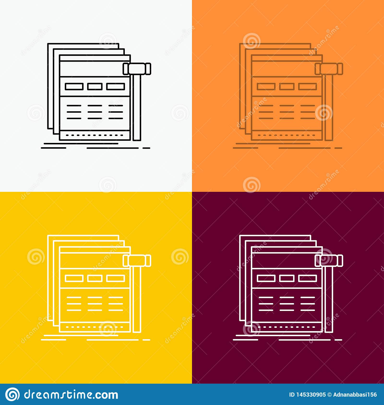 Internet, page, web, webpage, wireframe Icon Over Various Background. Line style design, designed for web and app. Eps 10 vector