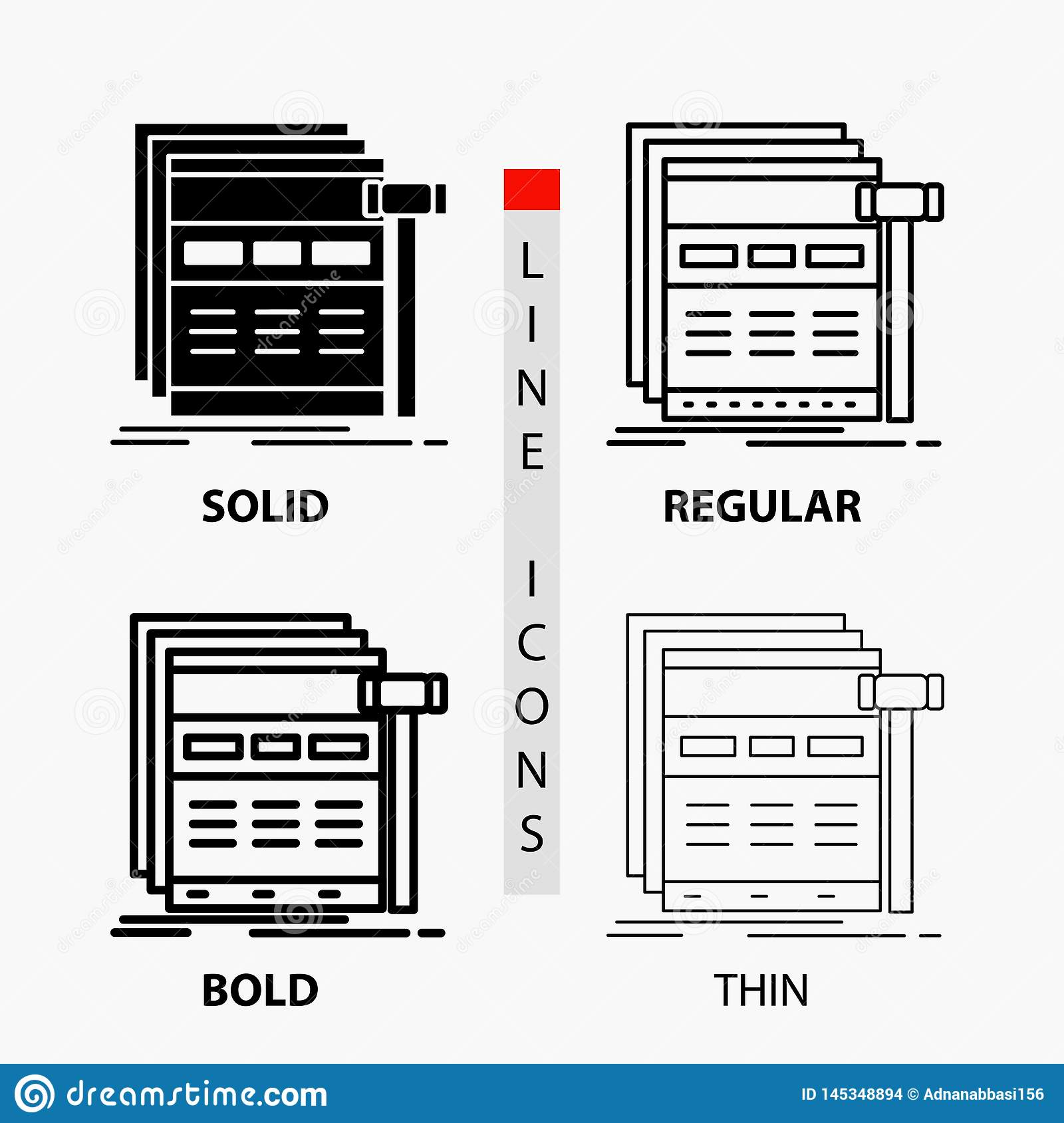Internet, page, web, webpage, wireframe Icon in Thin, Regular, Bold Line and Glyph Style. Vector illustration
