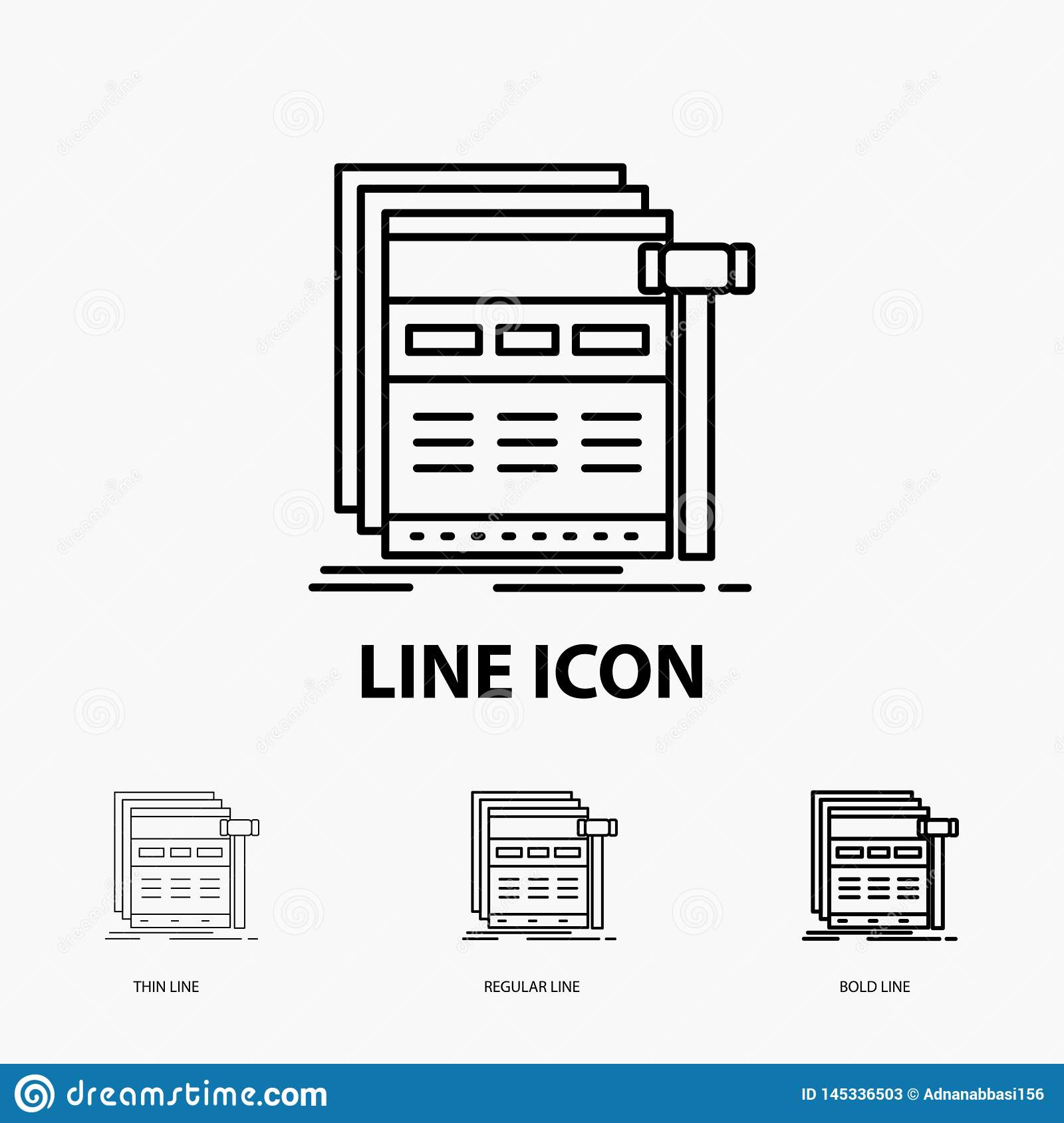 Internet, page, web, webpage, wireframe Icon in Thin, Regular and Bold Line Style. Vector illustration