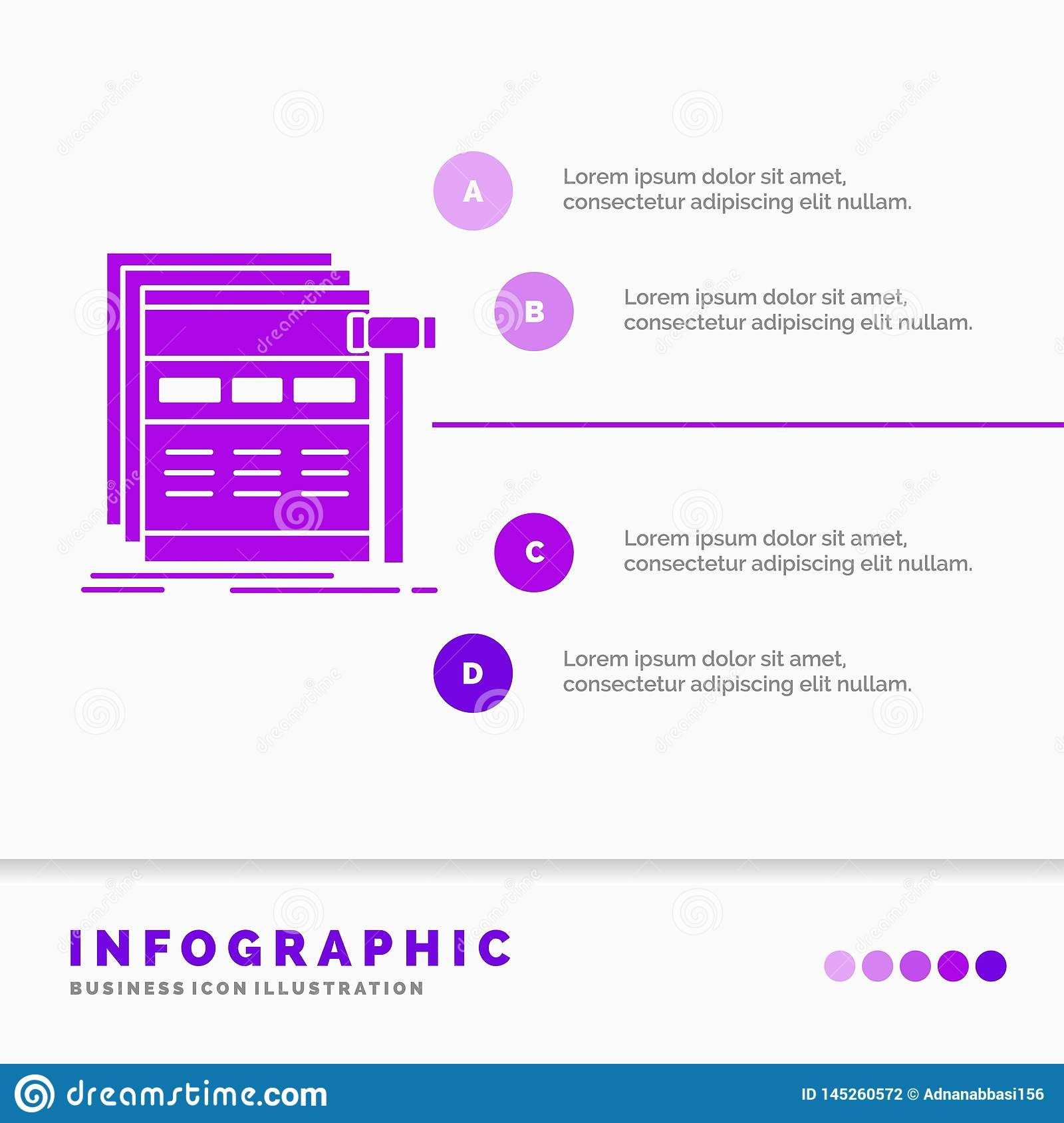 Internet, page, web, webpage, wireframe Infographics Template for Website and Presentation. GLyph Purple icon infographic style