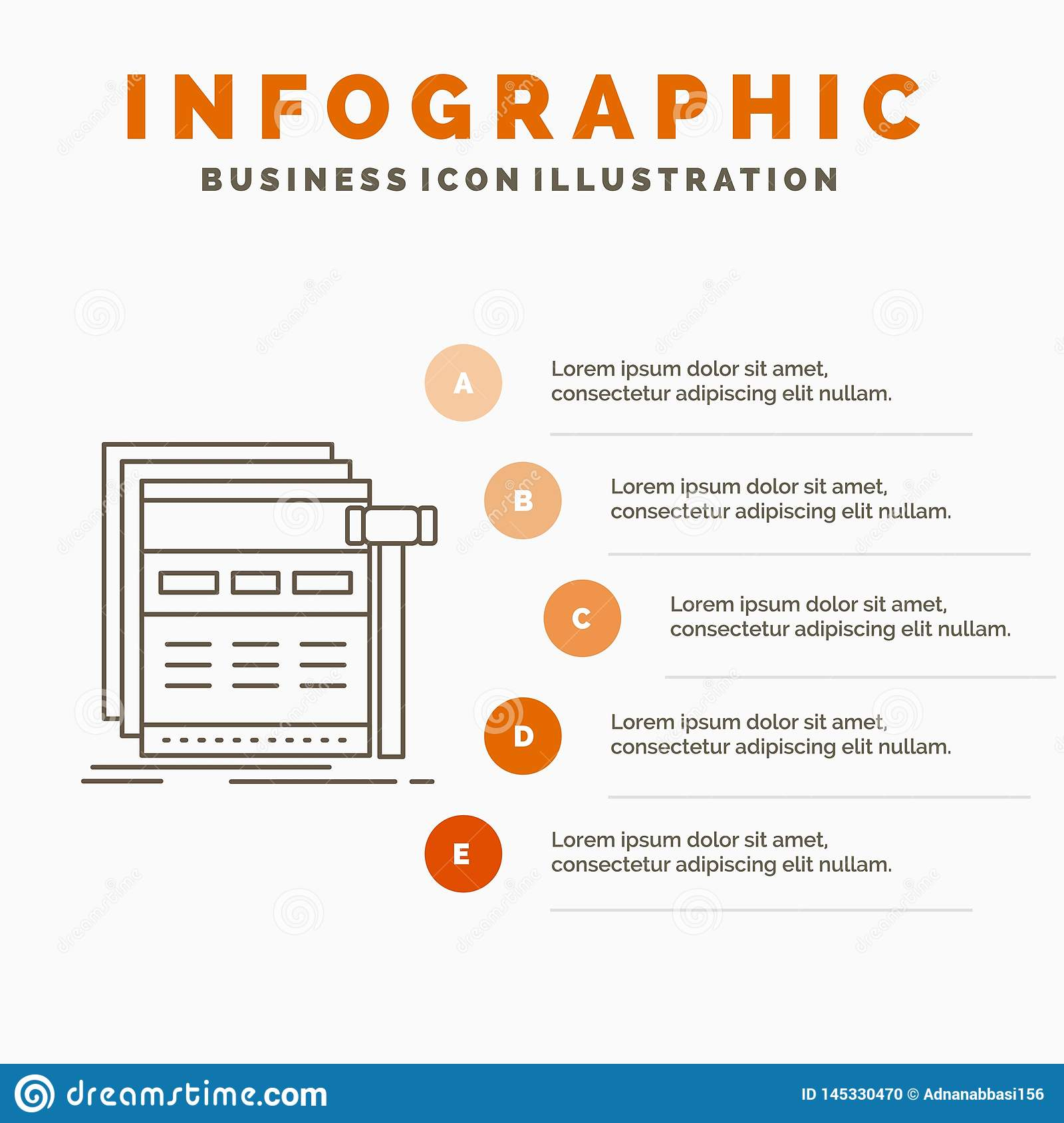 Internet, page, web, webpage, wireframe Infographics Template for Website and Presentation. Line Gray icon with Orange infographic