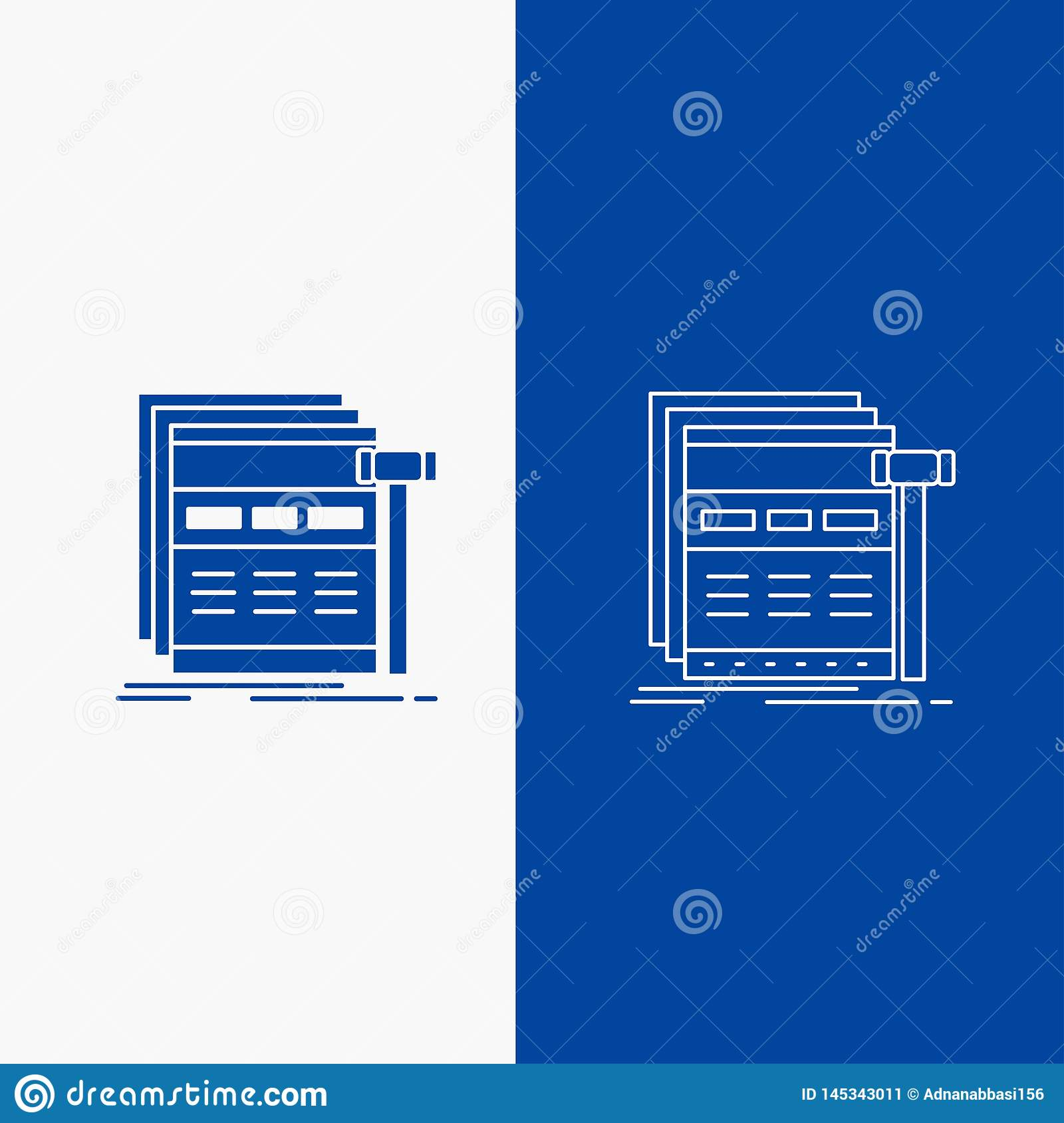 Internet, page, web, webpage, wireframe Line and Glyph web Button in Blue color Vertical Banner for UI and UX, website or mobile