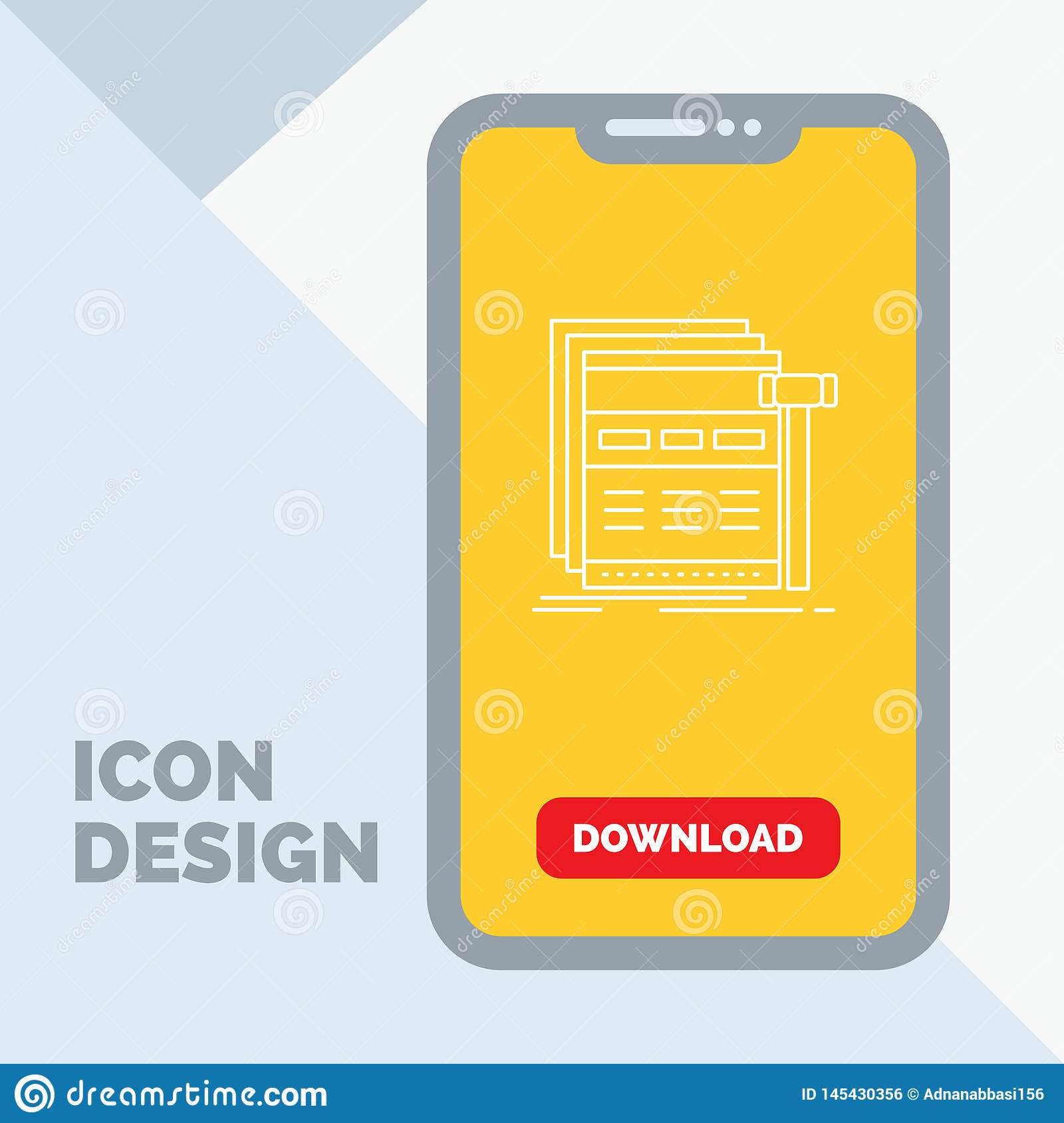 Internet, page, web, webpage, wireframe Line Icon in Mobile for Download Page