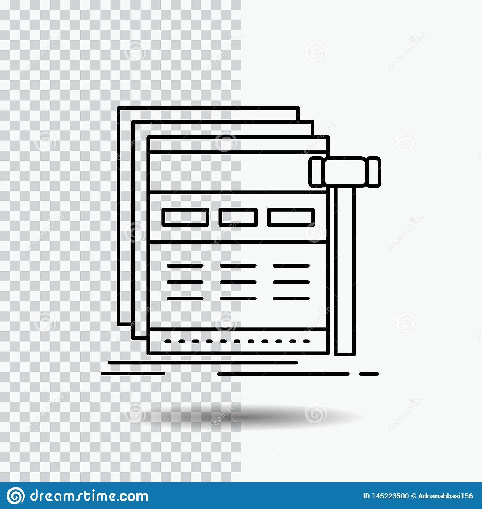 Internet, page, web, webpage, wireframe Line Icon on Transparent Background. Black Icon Vector Illustration