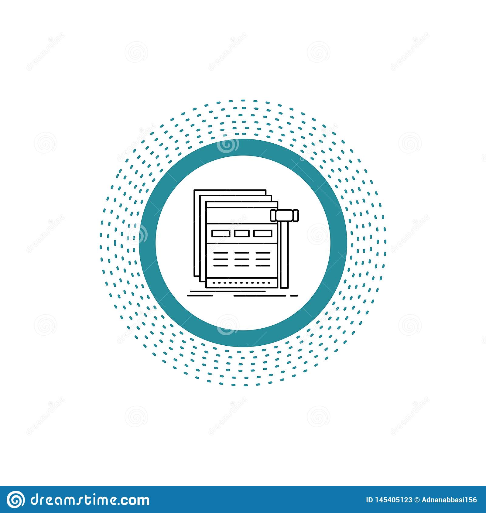 Internet, page, web, webpage, wireframe Line Icon. Vector isolated illustration