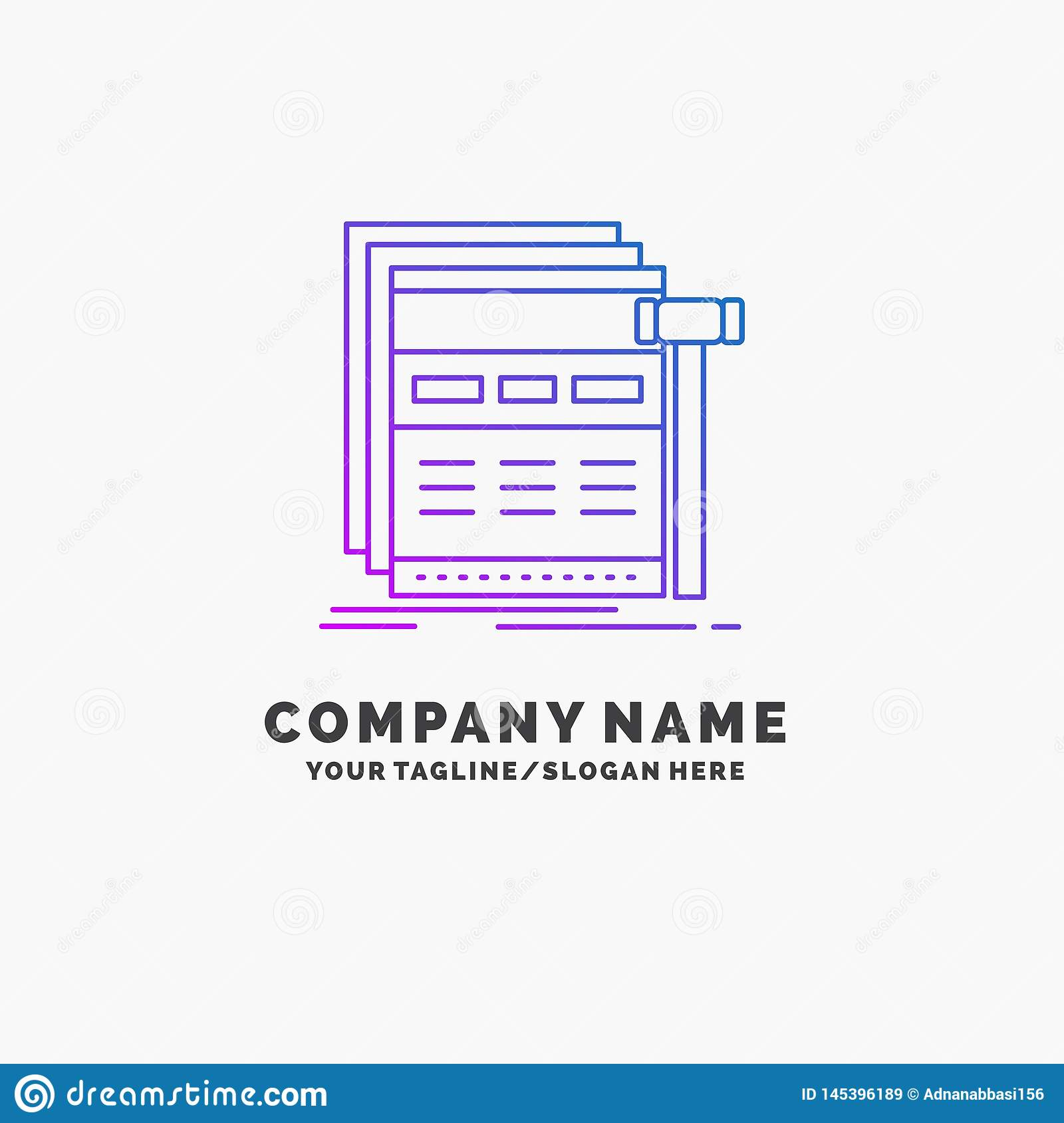 Internet, page, web, webpage, wireframe Purple Business Logo Template. Place for Tagline