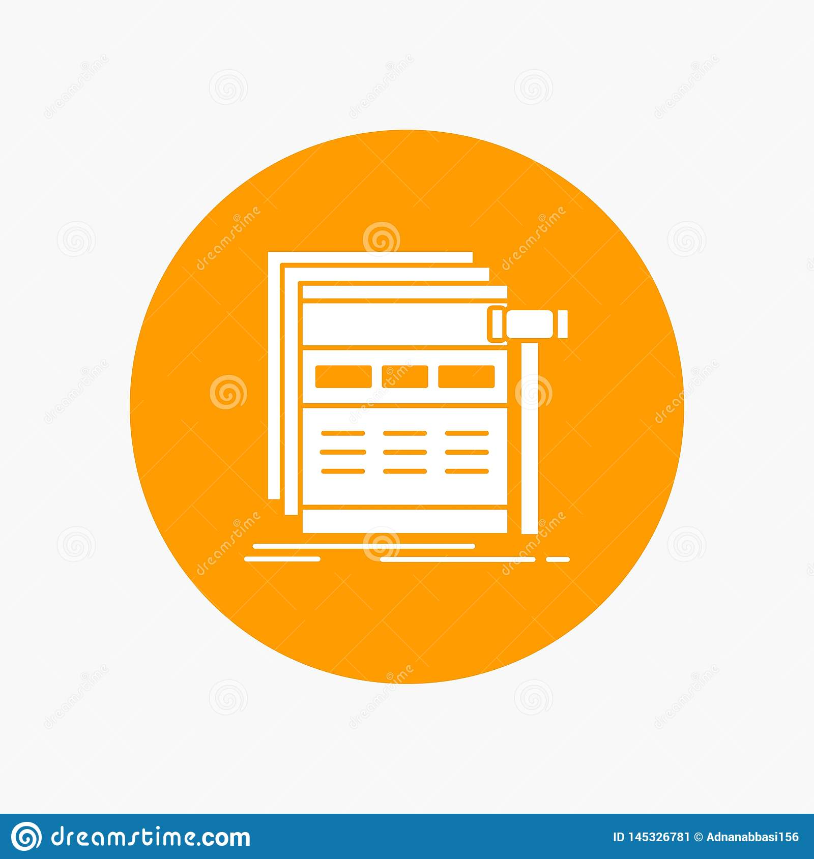 Internet, page, web, webpage, wireframe White Glyph Icon in Circle. Vector Button illustration