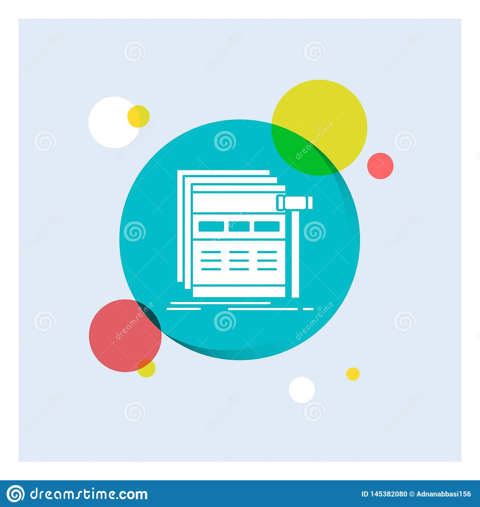 Internet, page, web, webpage, wireframe White Glyph Icon colorful Circle Background