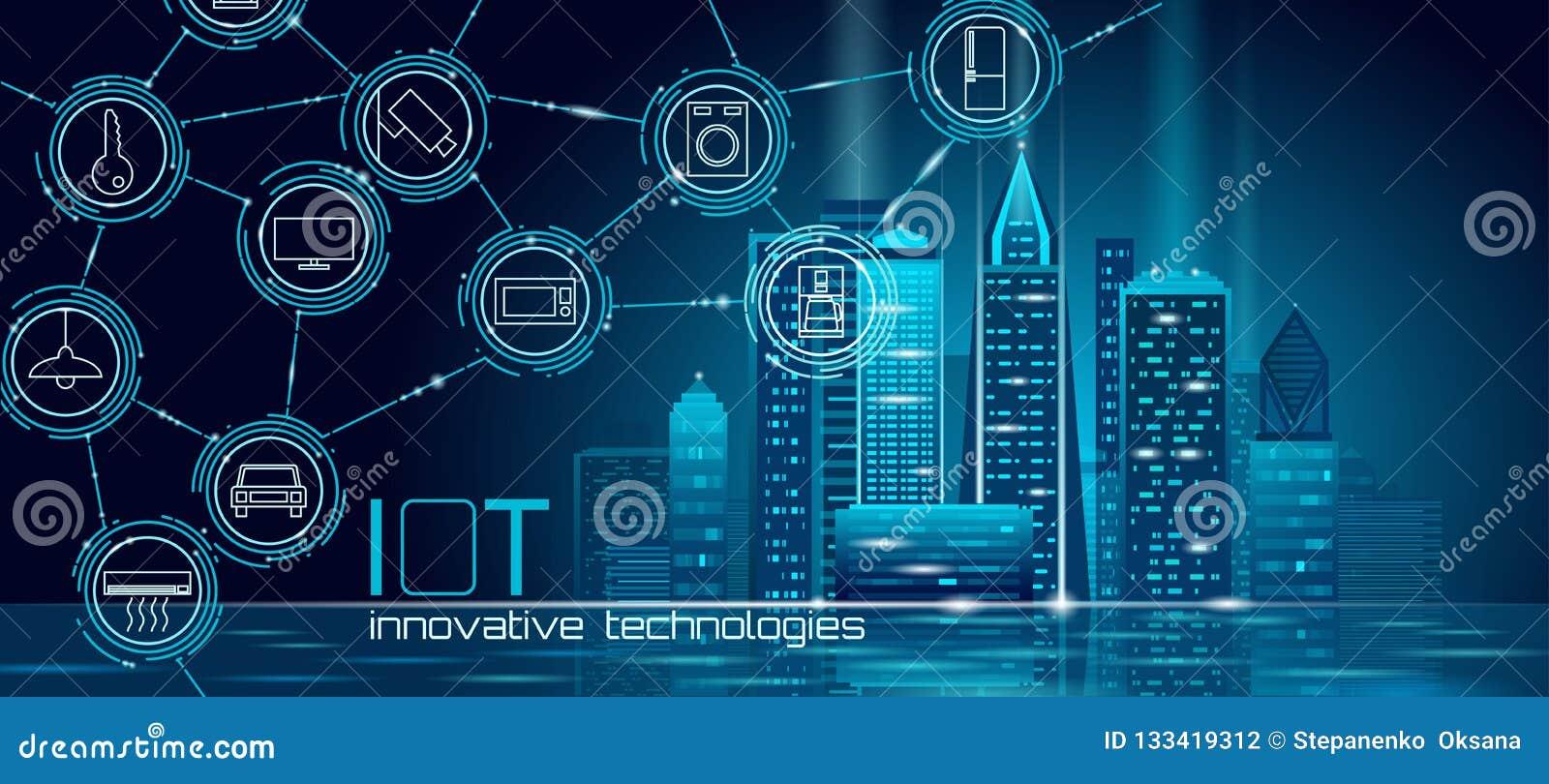 Internet rede de arame esperta poli da cidade 3D das coisas da baixa Conceito de construção inteligente da automatização IOT Em l