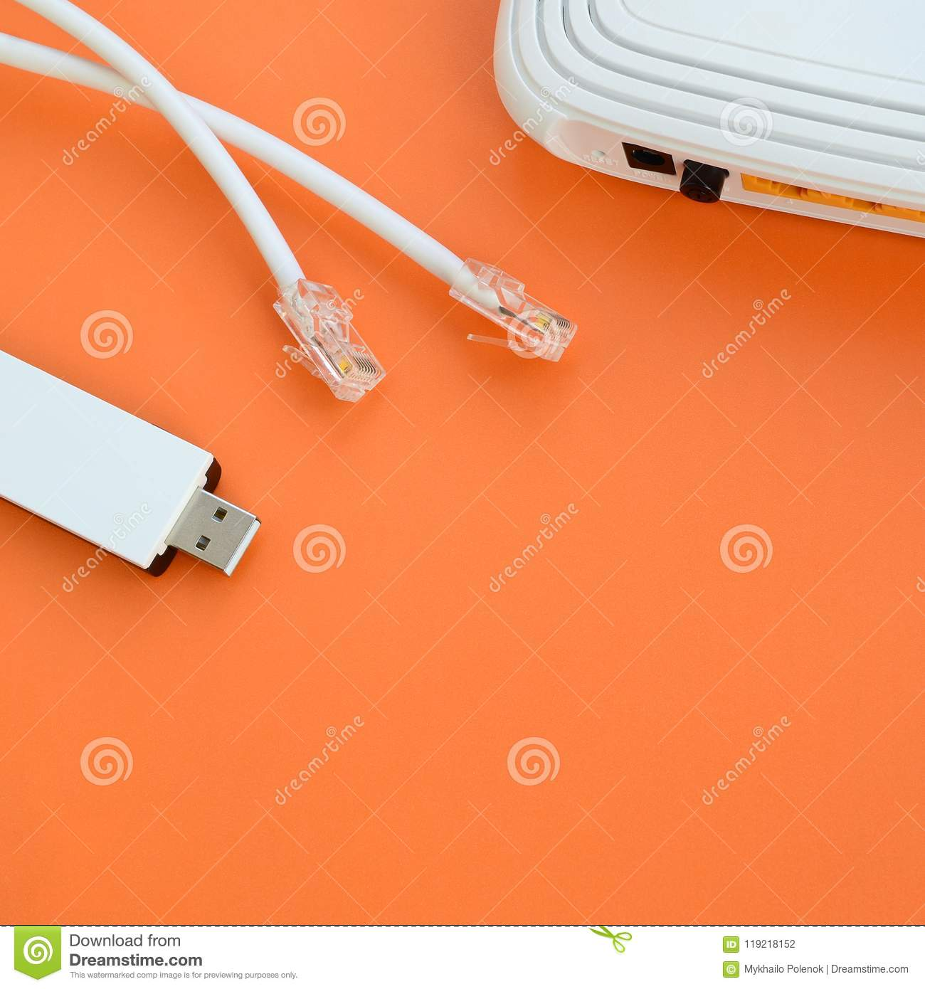 Internet Router Portable Usb Wi Fi Adapter And Cable P Home Wiring Download Stock Photo