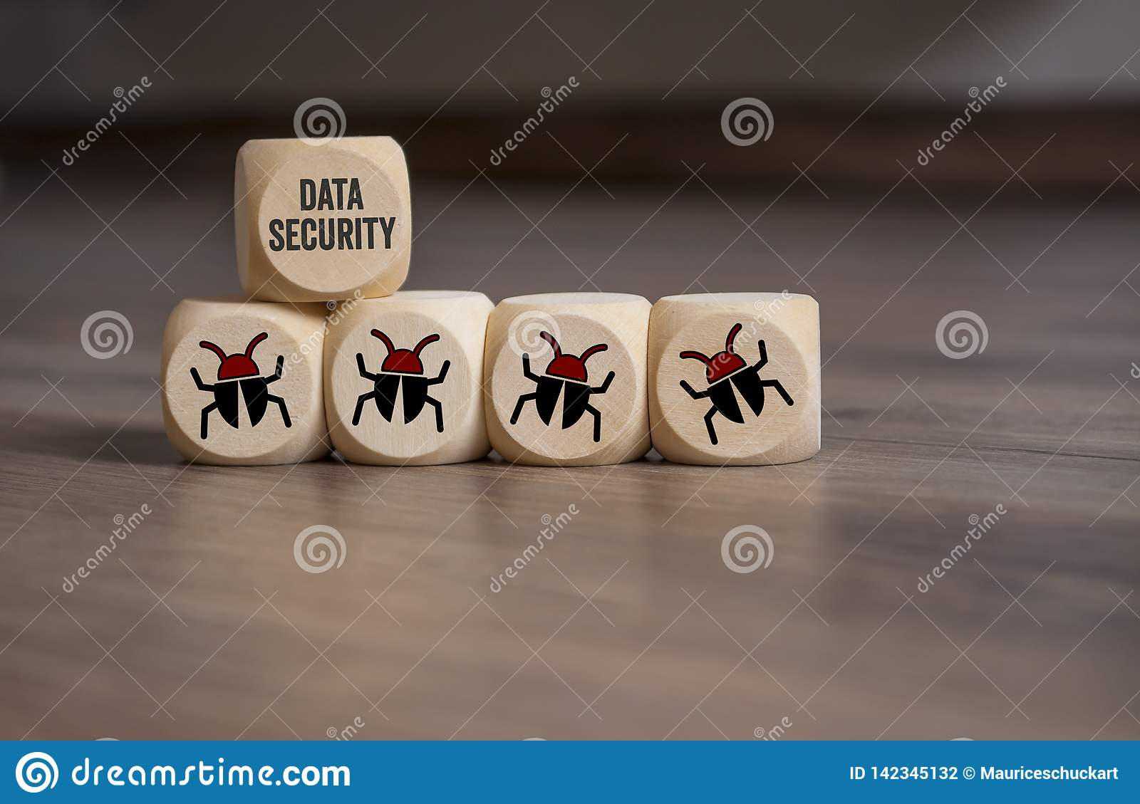 Internet security and anti virus protection with cubes, dice
