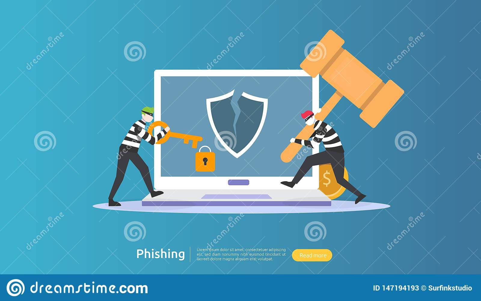 internet security concept with tiny people character. password phishing attack. stealing personal data. web landing page, banner,