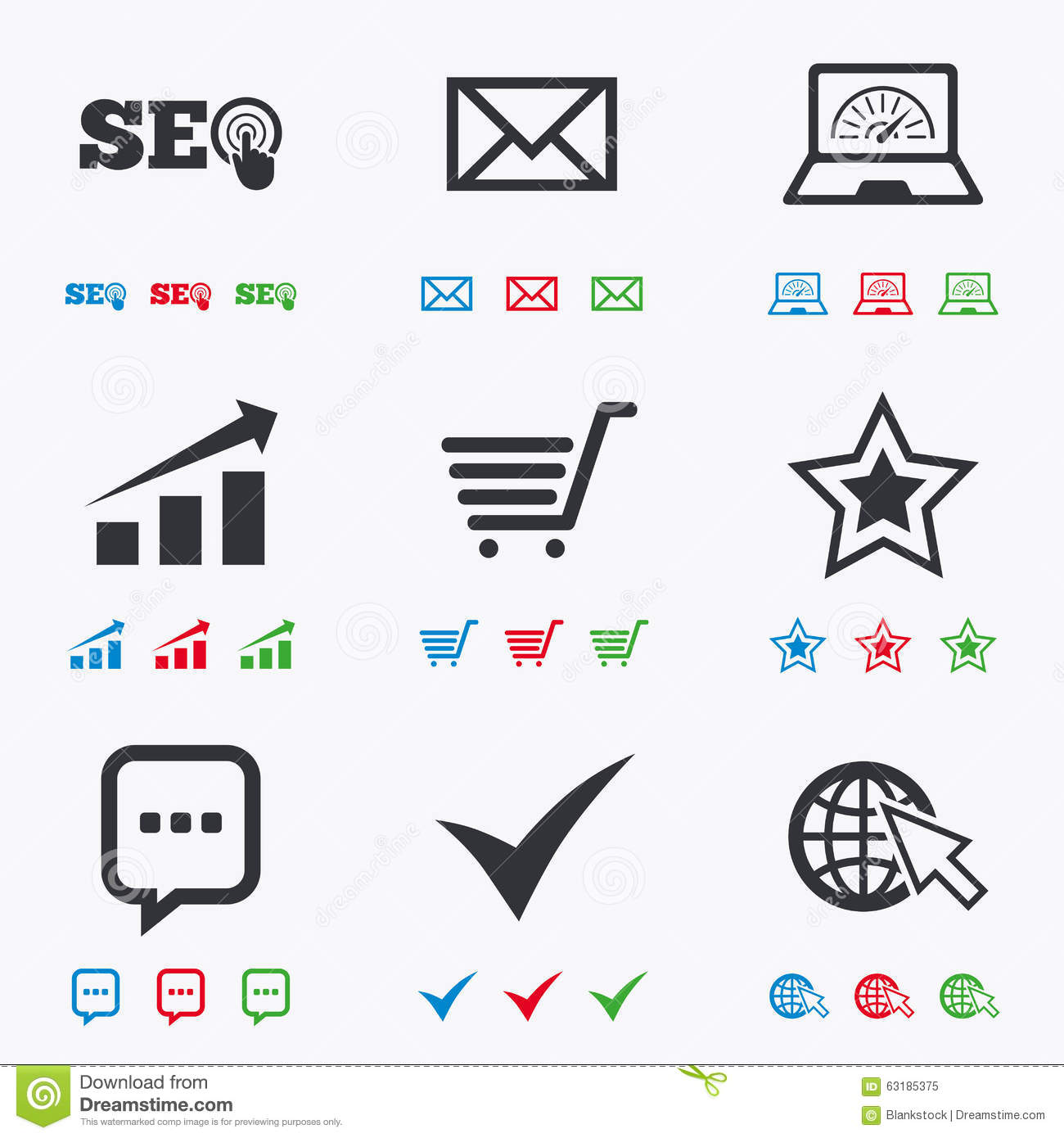 Internet, Seo Icons  Star, Shopping Signs Stock Vector