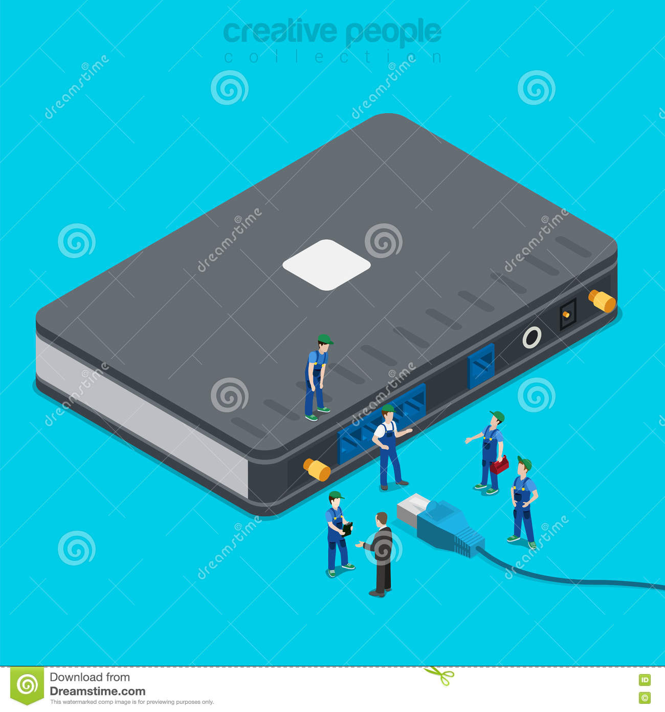 Internet Service Connection Supply Wi-fi Flat Isometric Vector Stock ...