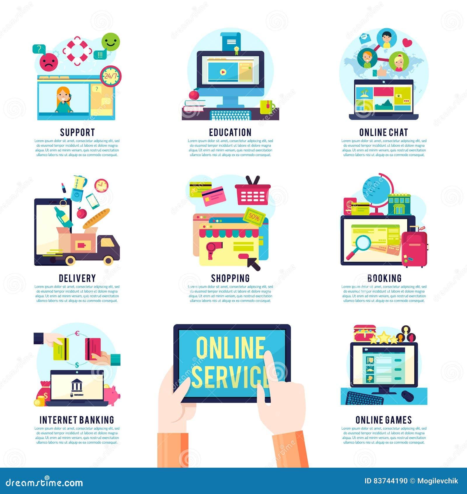 Internet Service Flat Infographics Stock Vector