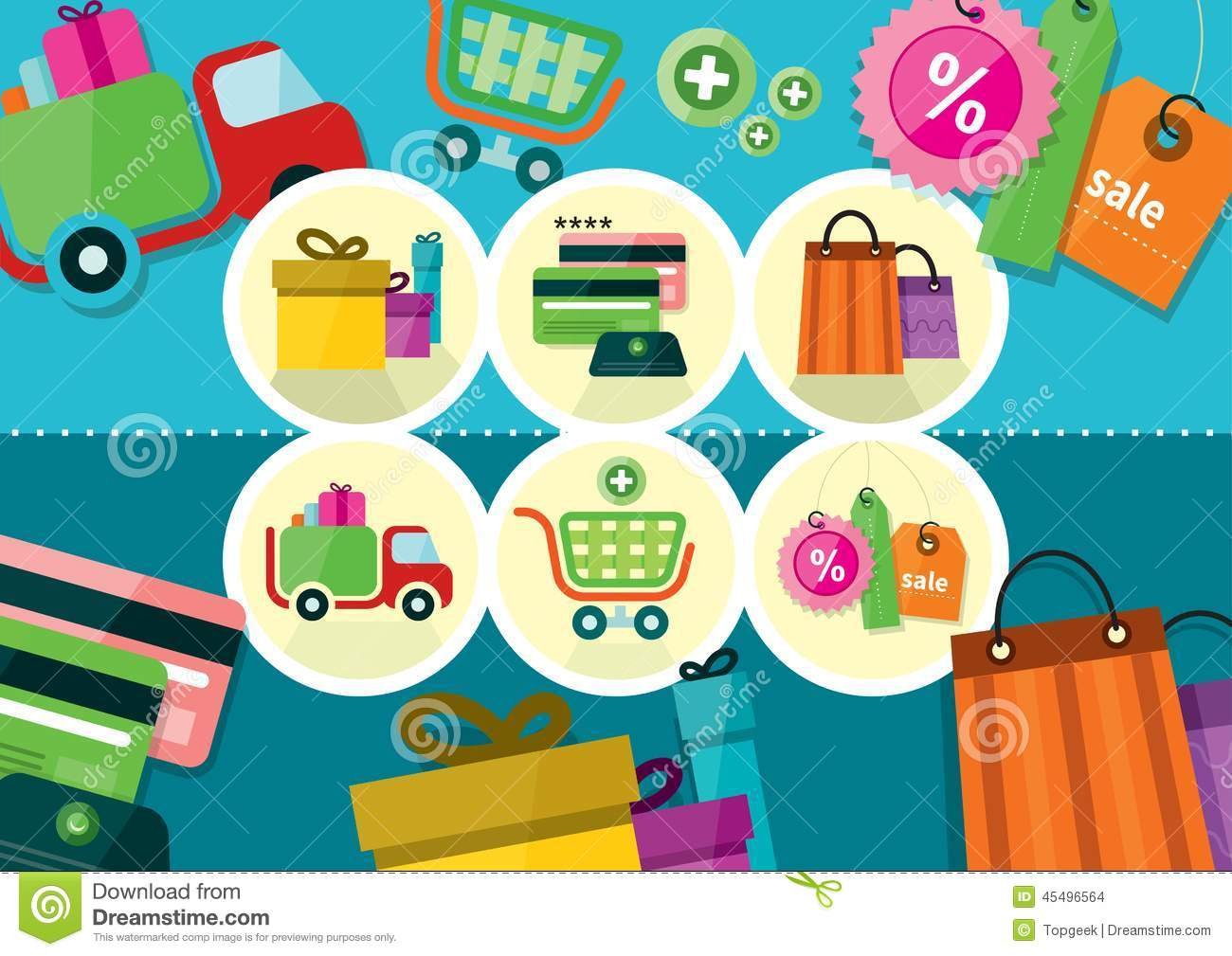 internet shopping process and delivery icons stock vector