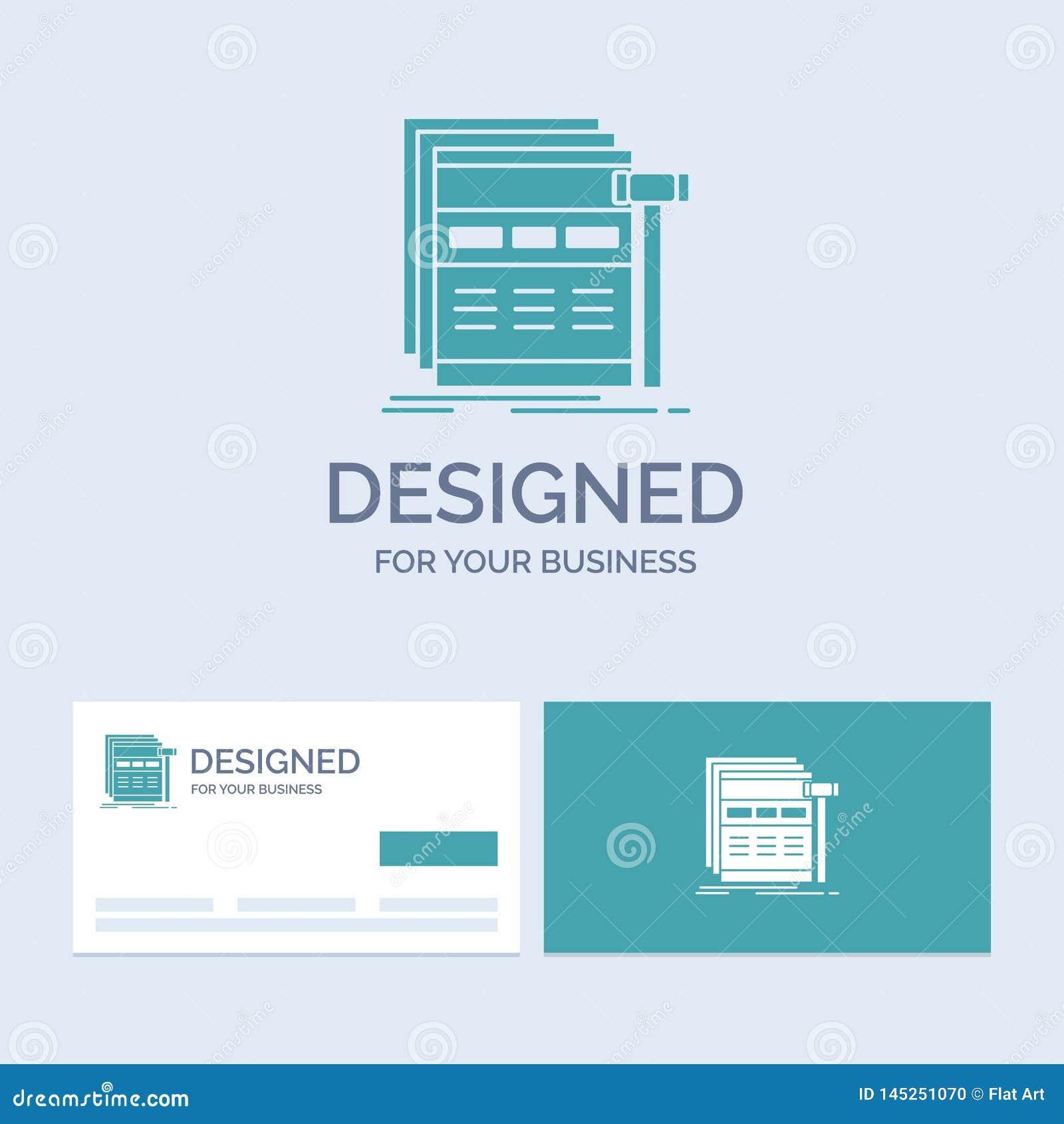 Internet sida, rengöringsduk, webpage, wireframeaffär Logo Glyph Icon Symbol för din affär Turkosaff?rskort med m?rke