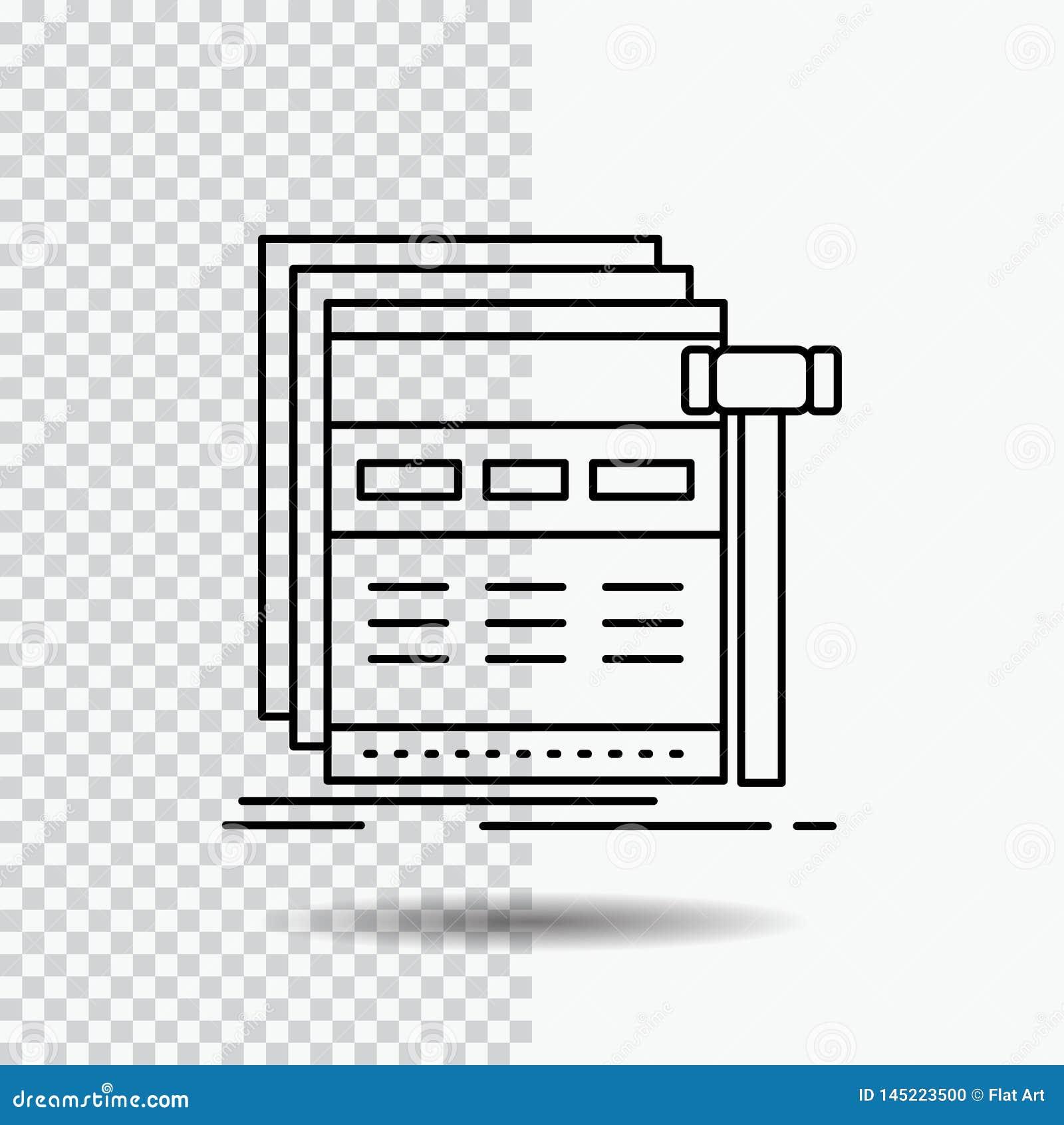 Internet sida, rengöringsduk, webpage, wireframelinje symbol på genomskinlig bakgrund Svart symbolsvektorillustration