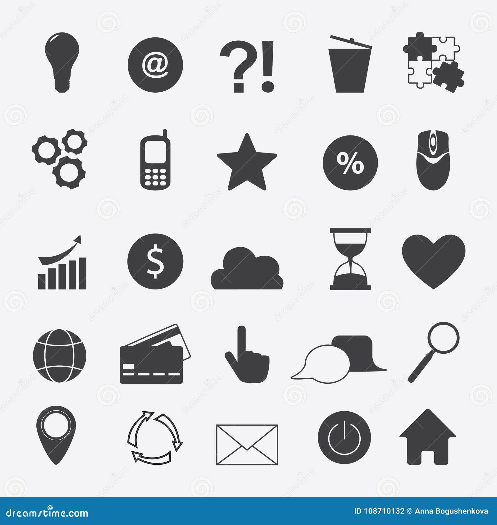 Internet Flat Symbols For Web Site Design Isolated On Grey