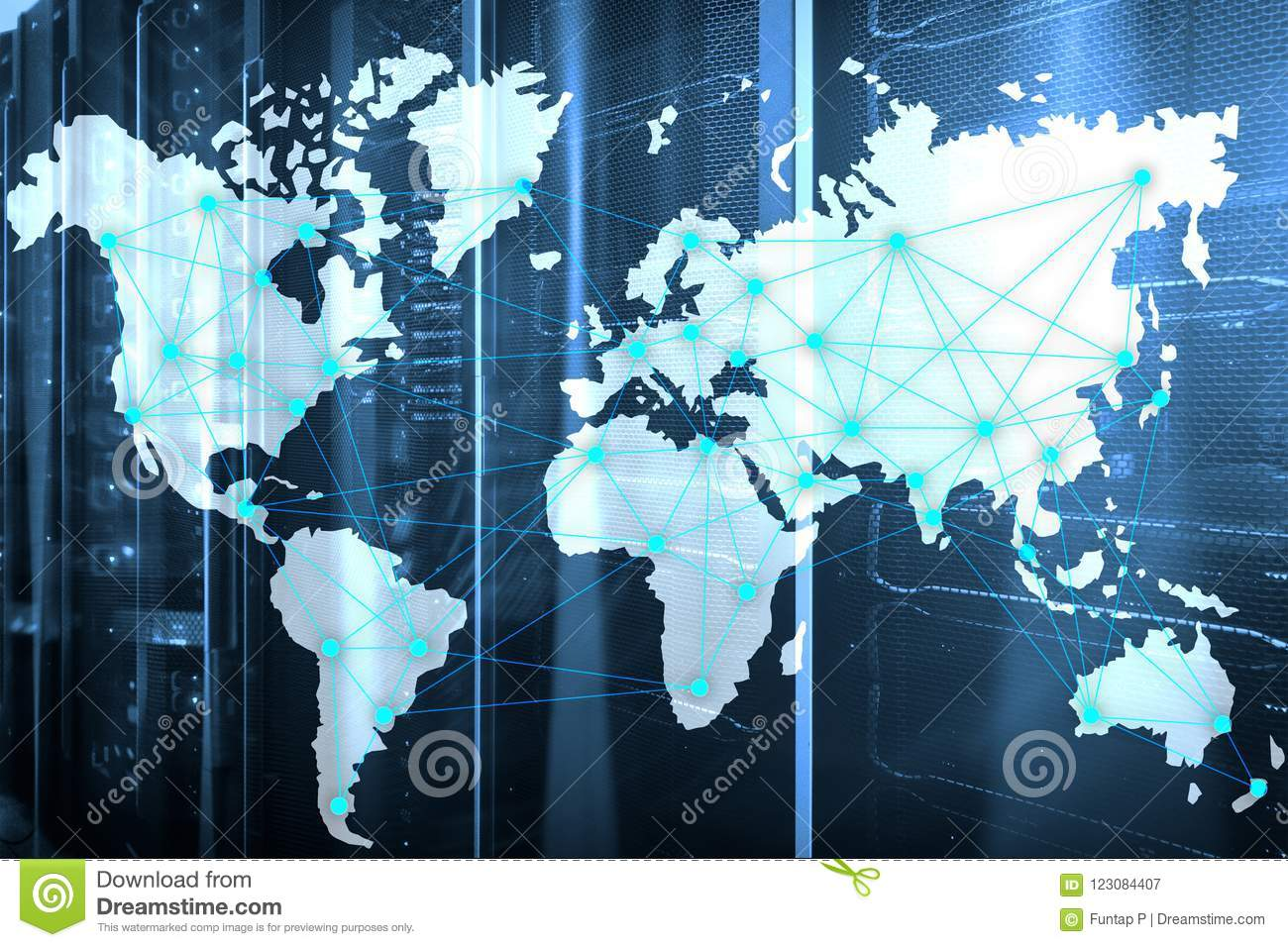 Internet And Telecommunication Concept With World Map On Server Room ...