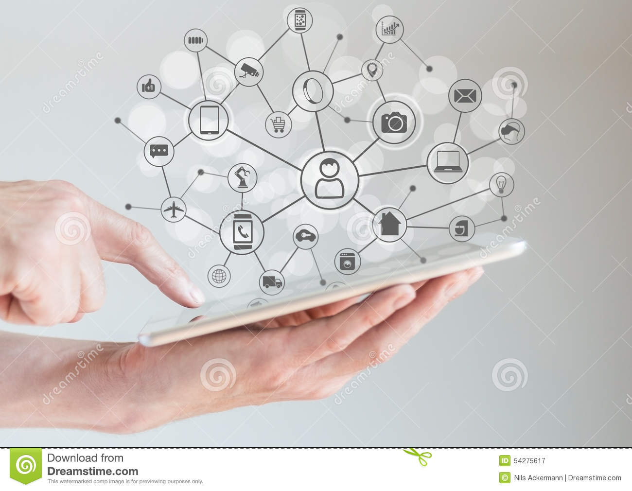 Internet of Things concept (IoT) with male hands holding tablet or large smart phone