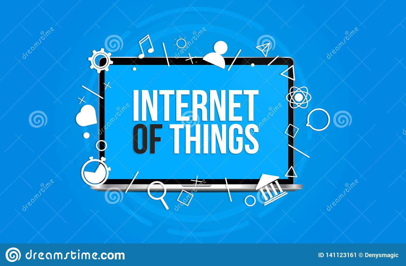Internet of things concept - laptop isolated on a blue background with a lot of icons throw outs from screen.