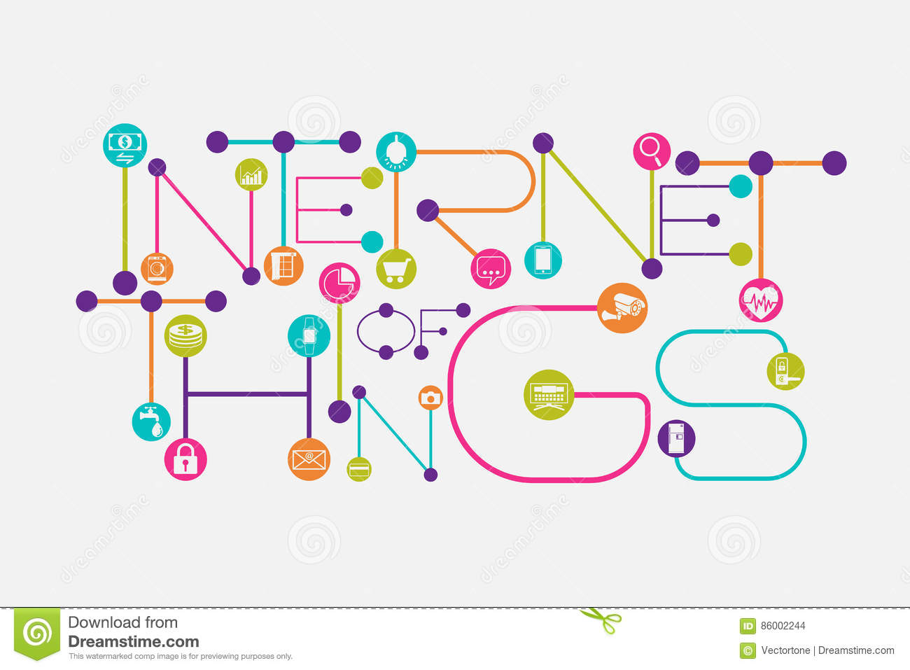 Internet of Things concept using dot and connecting line font style.
