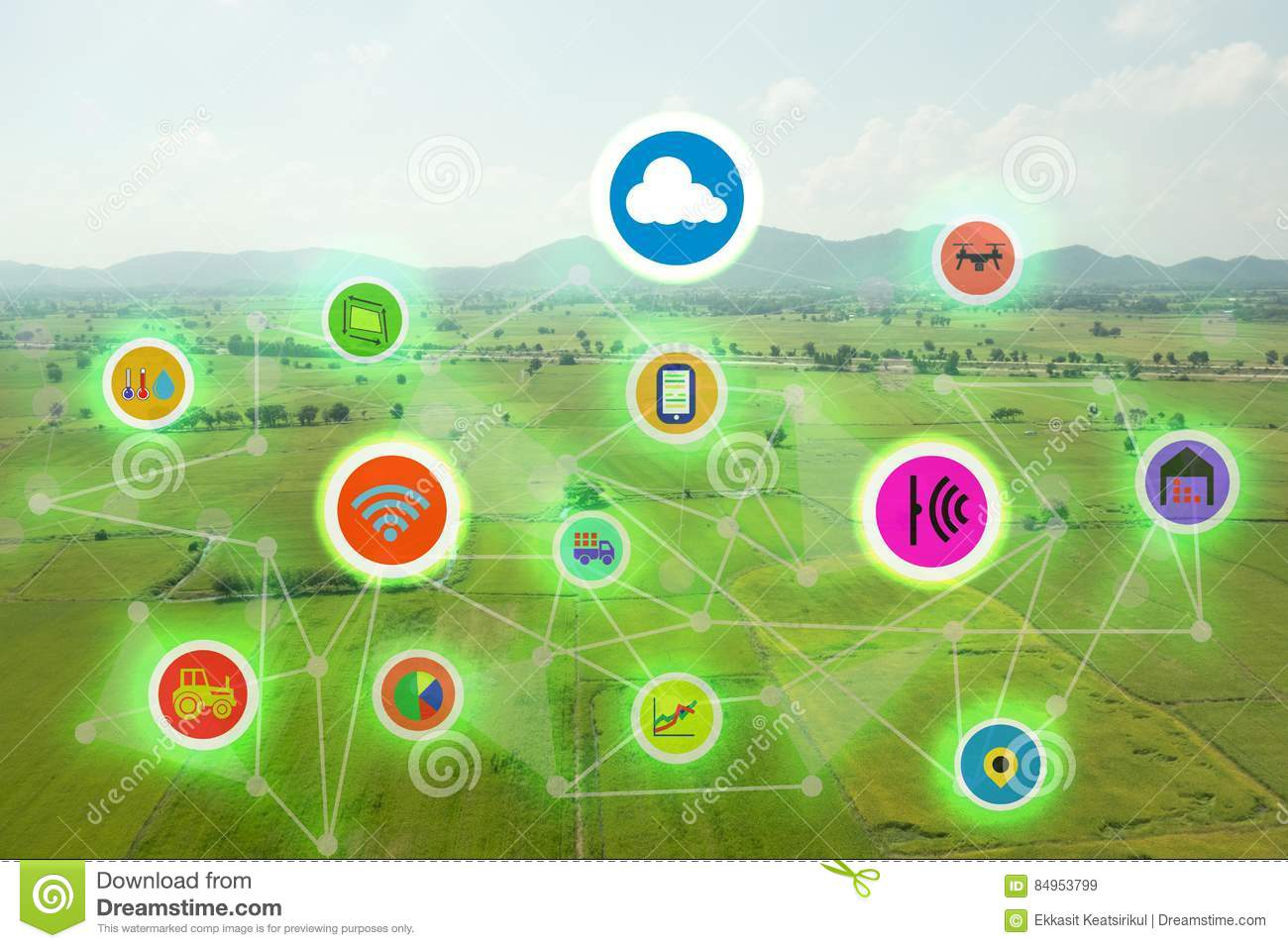 Internet of things industrial agriculture,smart farming concepts,the various farm technology in the futuristic icom on the field b