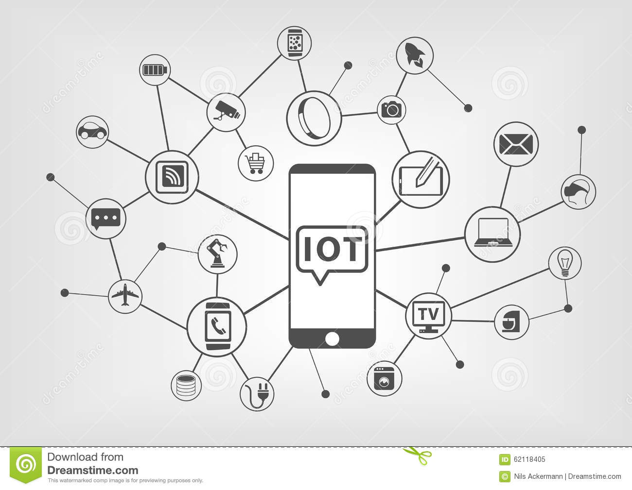 Internet Of Things (IOT) Concept Of Connected Devices With Smart ...