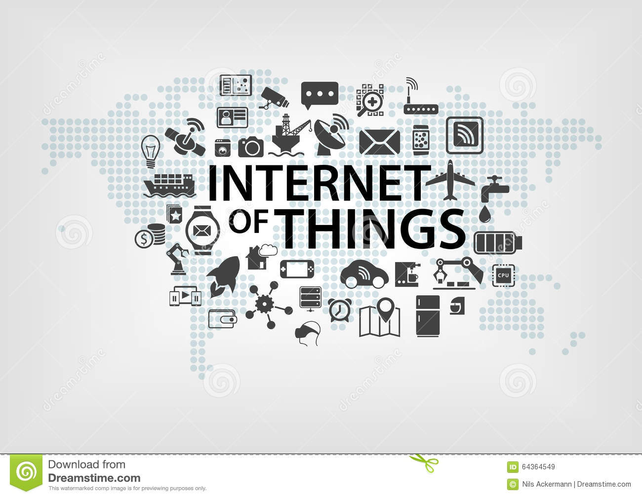 Internet Of Things IOT Concept With World Map And