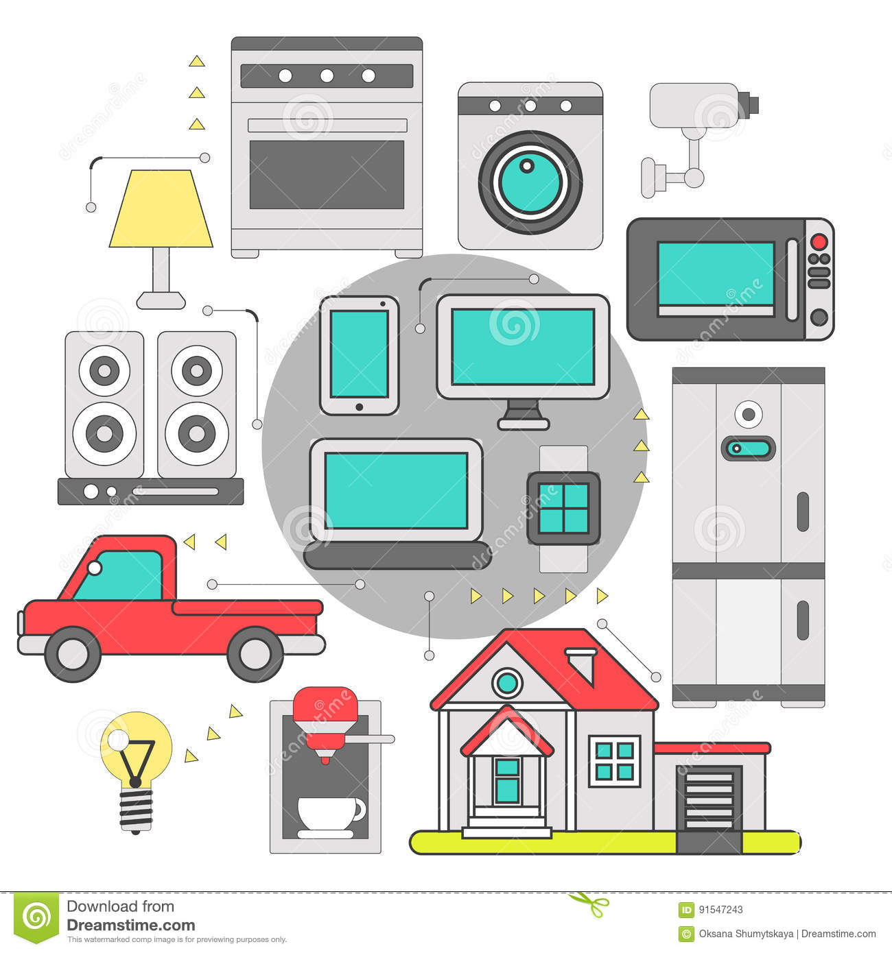 Internet Of Things Iot Home Household Stock Vector ...