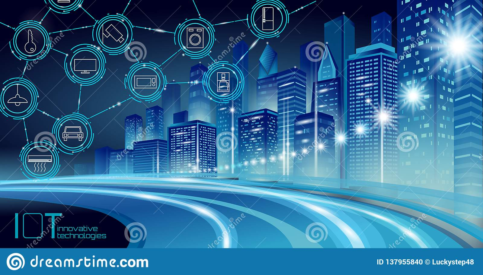 Internet of things low poly smart city 3D wire mesh. Intelligent building automation IOT concept. Modern wireless online