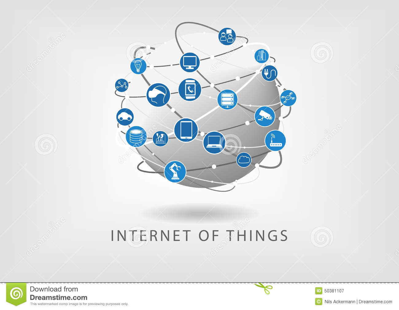 Internet Of Things Modern Connected World Illustration As Icons In ...