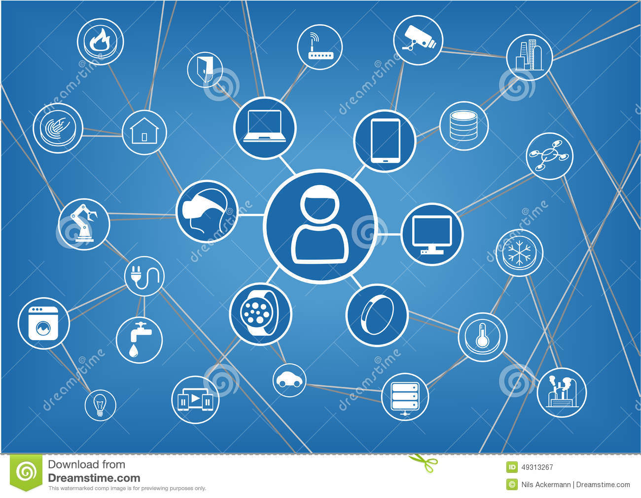 internet of things represented by consumer and connected devices as illustration stock