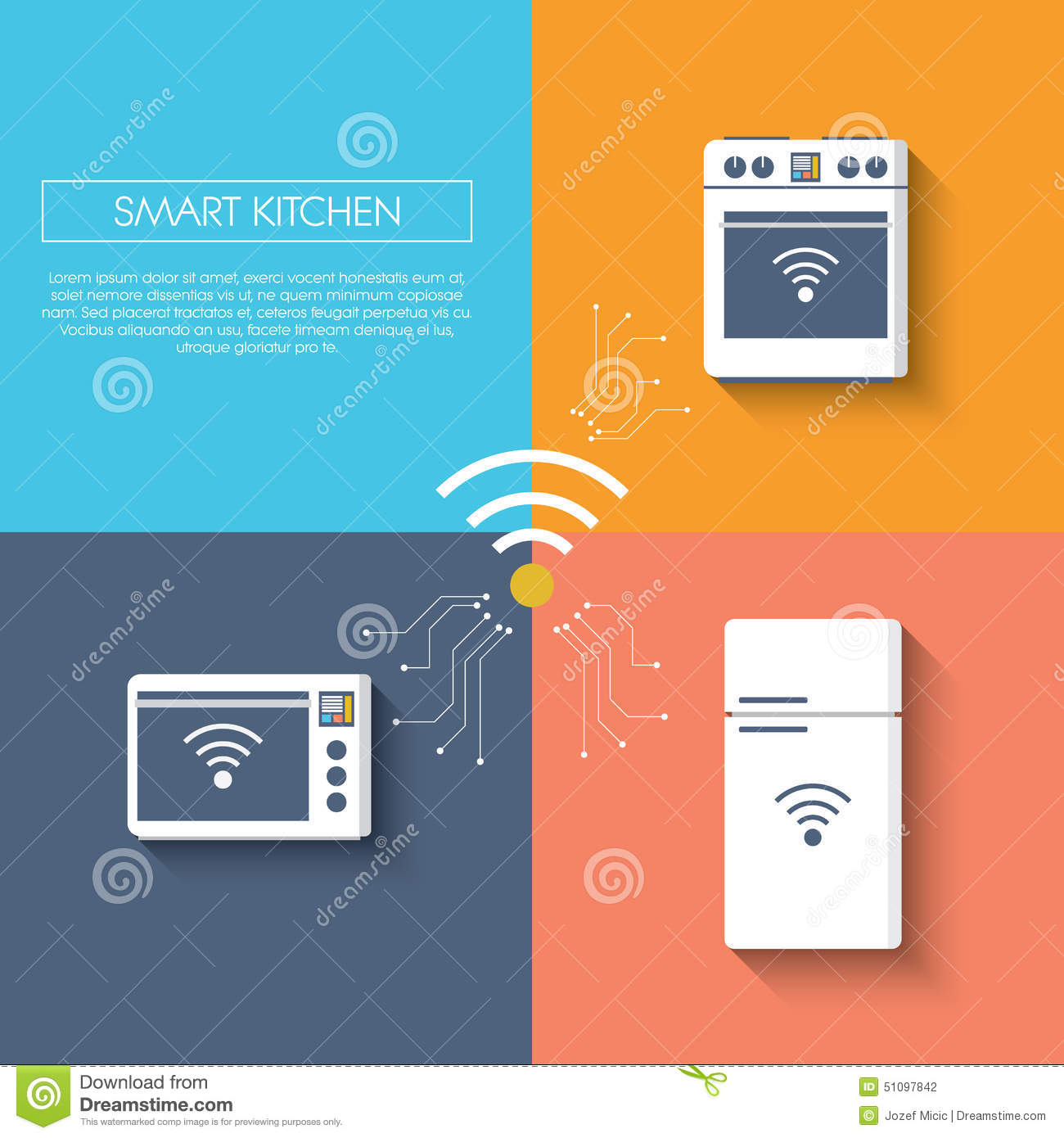 Smart Kitchen: Internet Of Things Smart Kitchen Concept With Stock Vector
