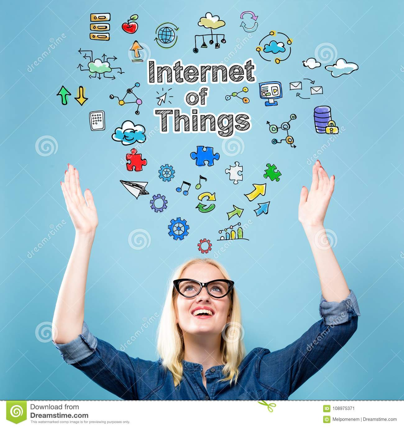 Internet of Things with young woman