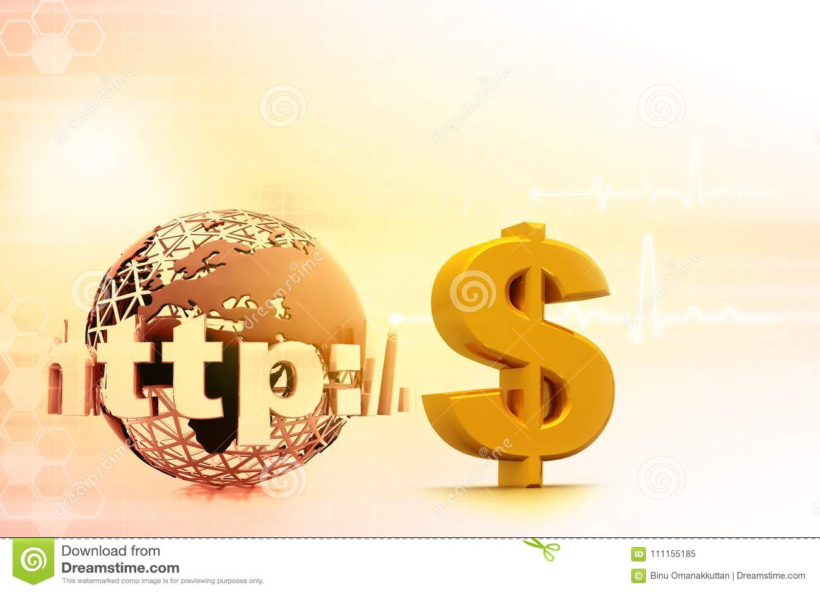 Internet With Us Dollar Symbol Stock Illustration Illustration Of