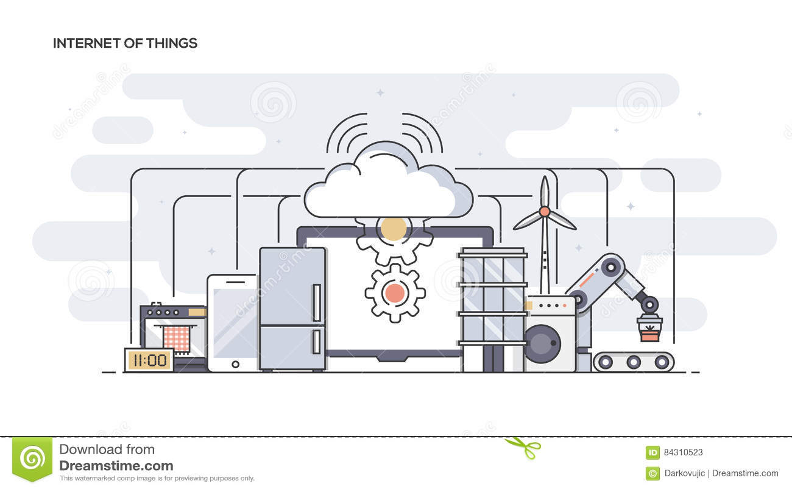 Internet van dingen Vlakke lijn ontworpen banner