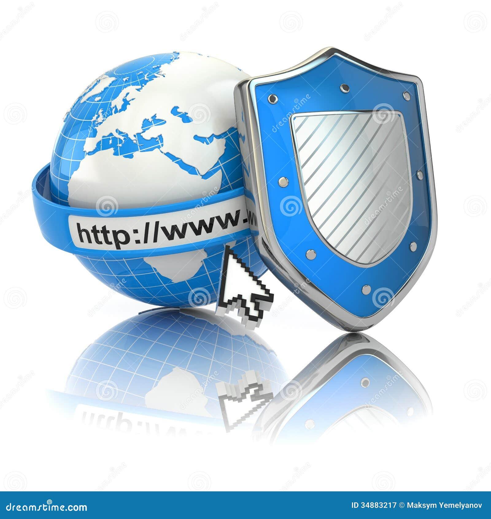 Internet-veiligheid. Aarde, browser adreslijn en schild.