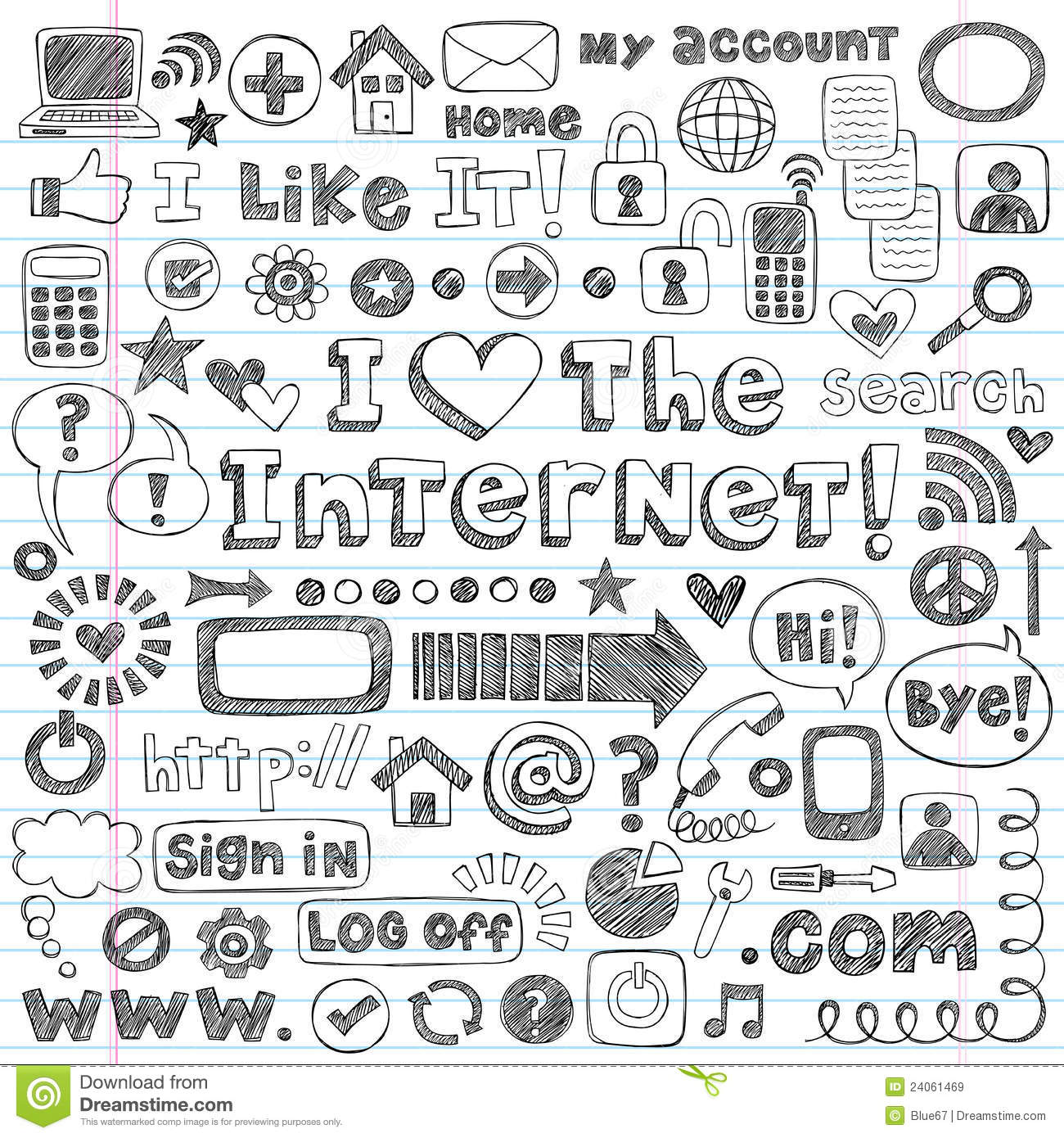 internet web icon computer sketchy doodles set 24061469
