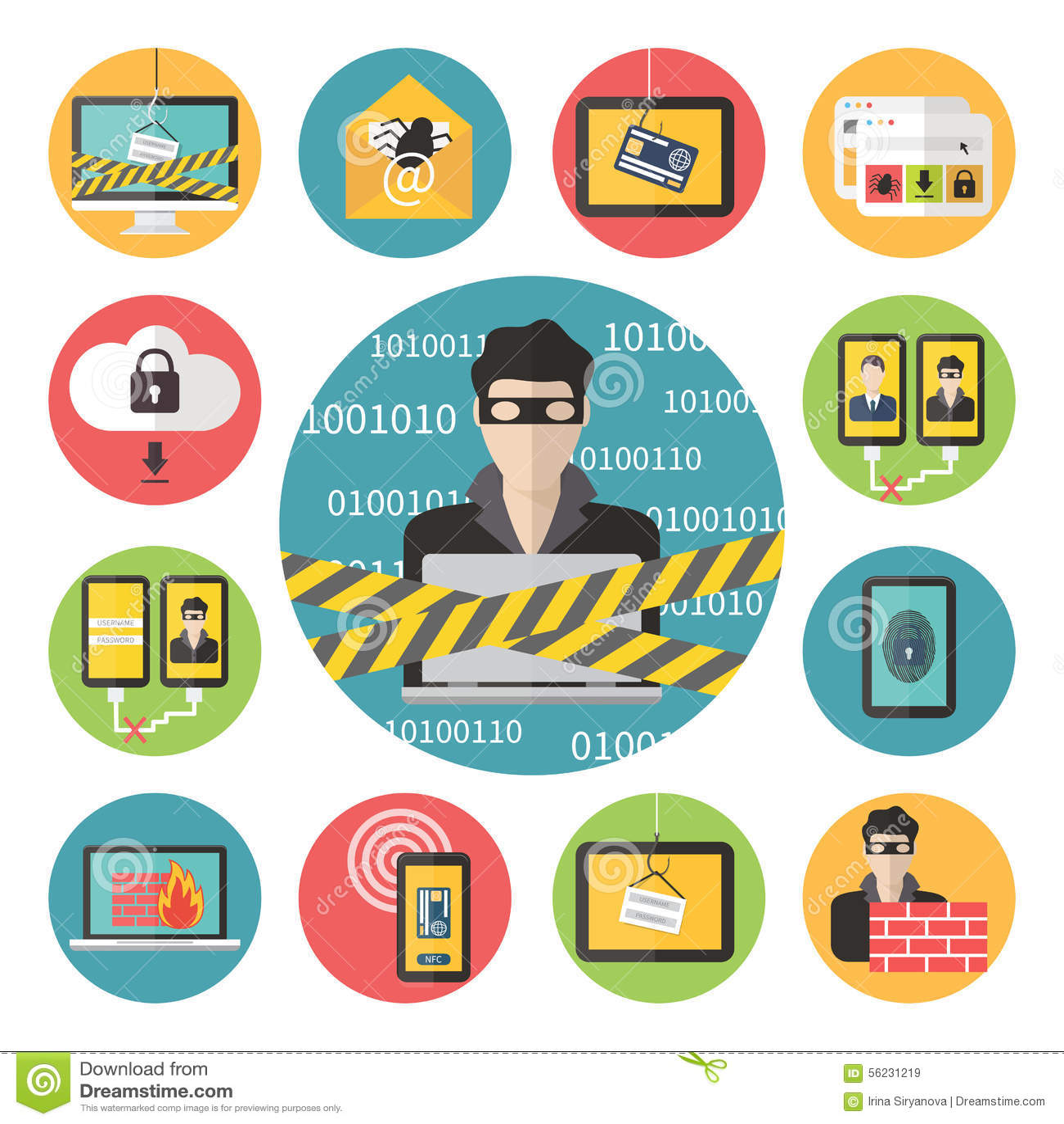 Viral Times Web: Internet Web Security. Stock Illustration. Image Of