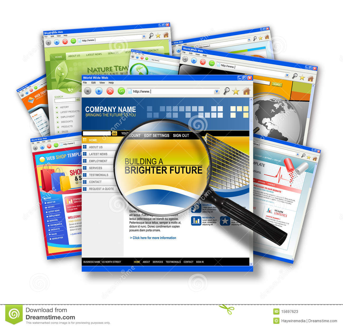 Website Finder: Internet Web Site Search Collage Stock Photos