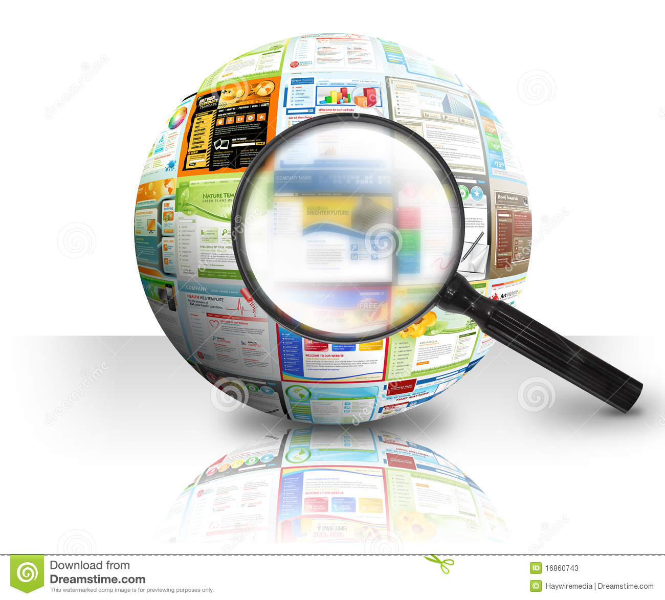 Internet website search 3d ball stock illustration image 3d site