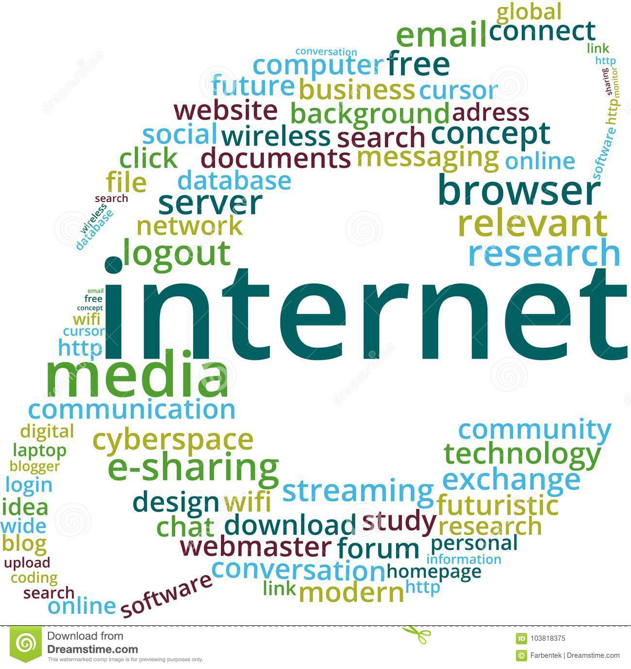 Internet Word Cloud Text Illustration  Stock Vector