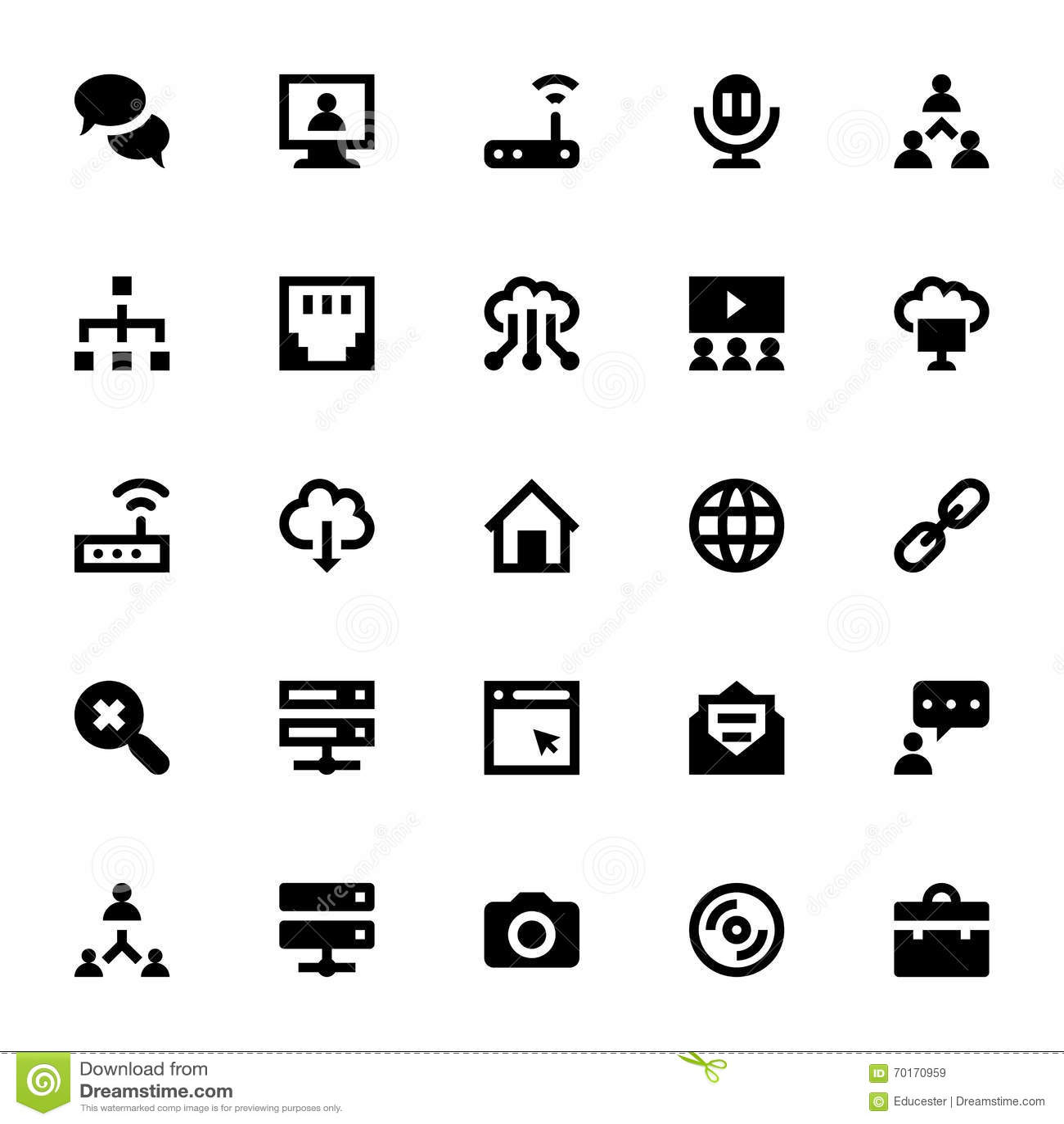 Interneta, networking i komunikaci Wektorowe ikony 4,