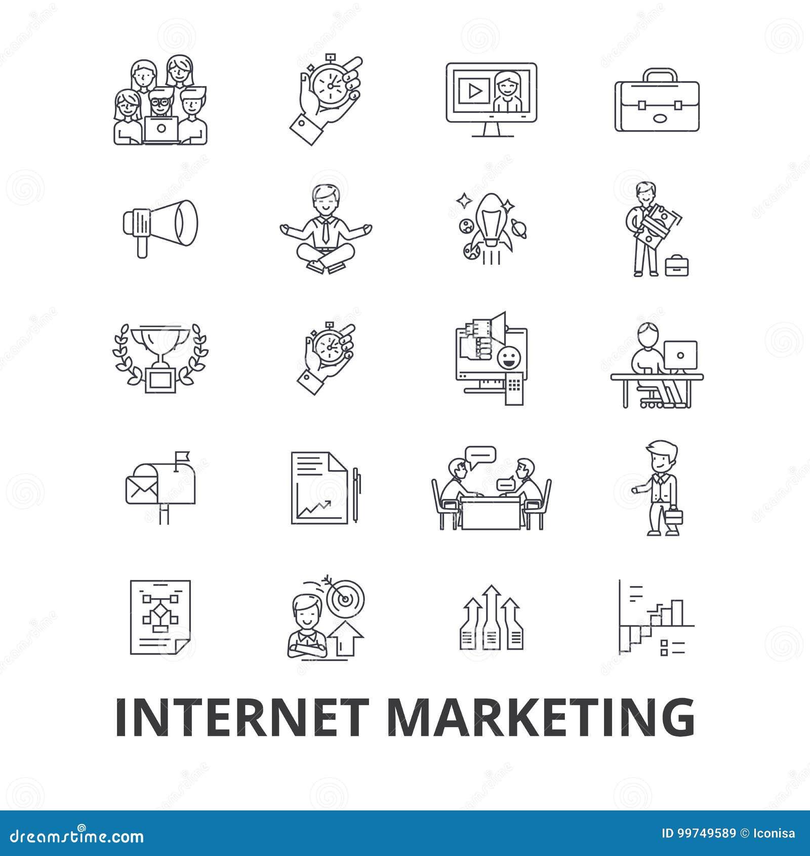Internetmarknadsföring, seo, online- och att shoppa, socialt massmedia som är digitalt, pengar, rengöringsduklinje symboler Redig