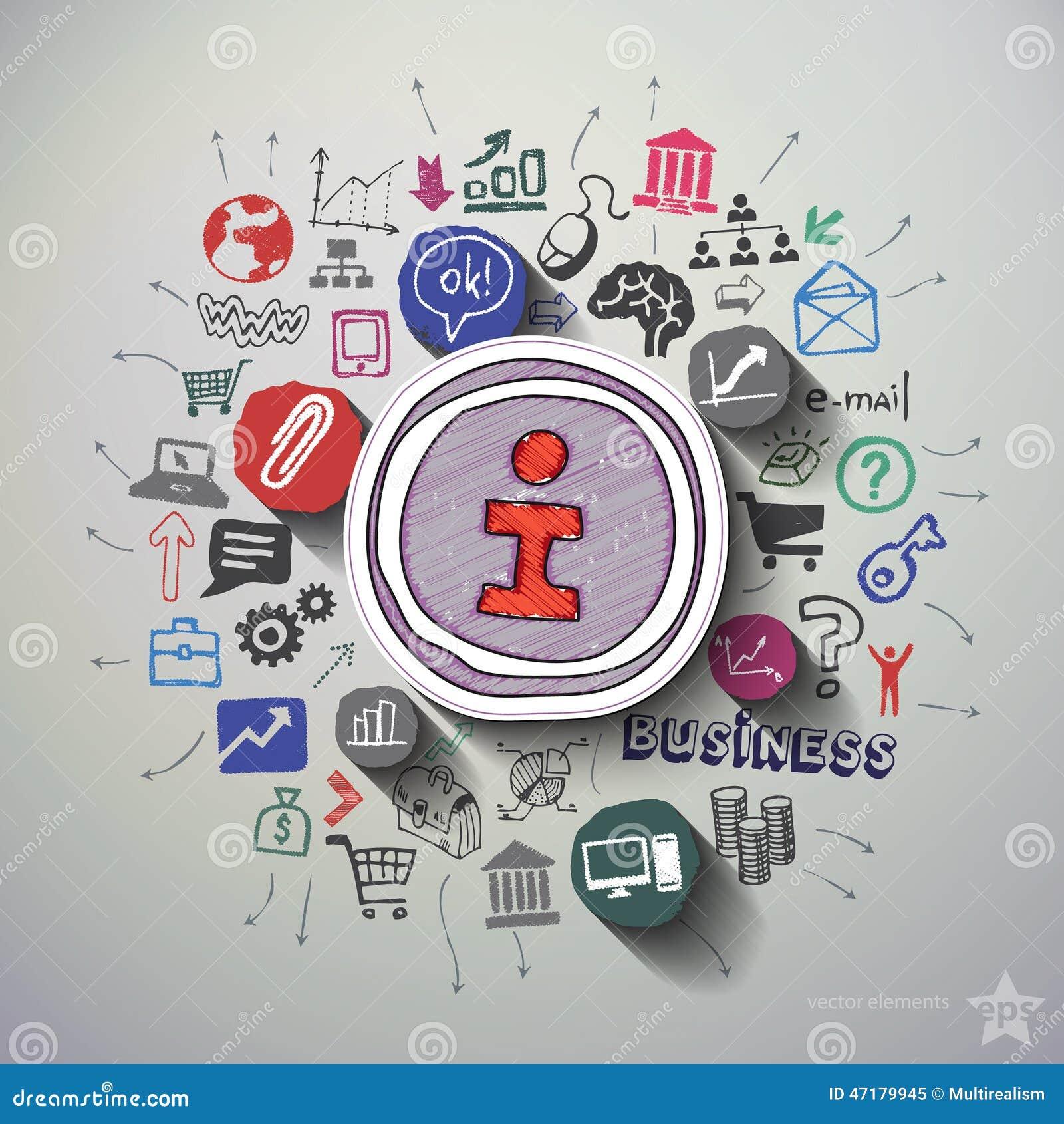 Internetowy marketingowy kolaż z ikony tłem