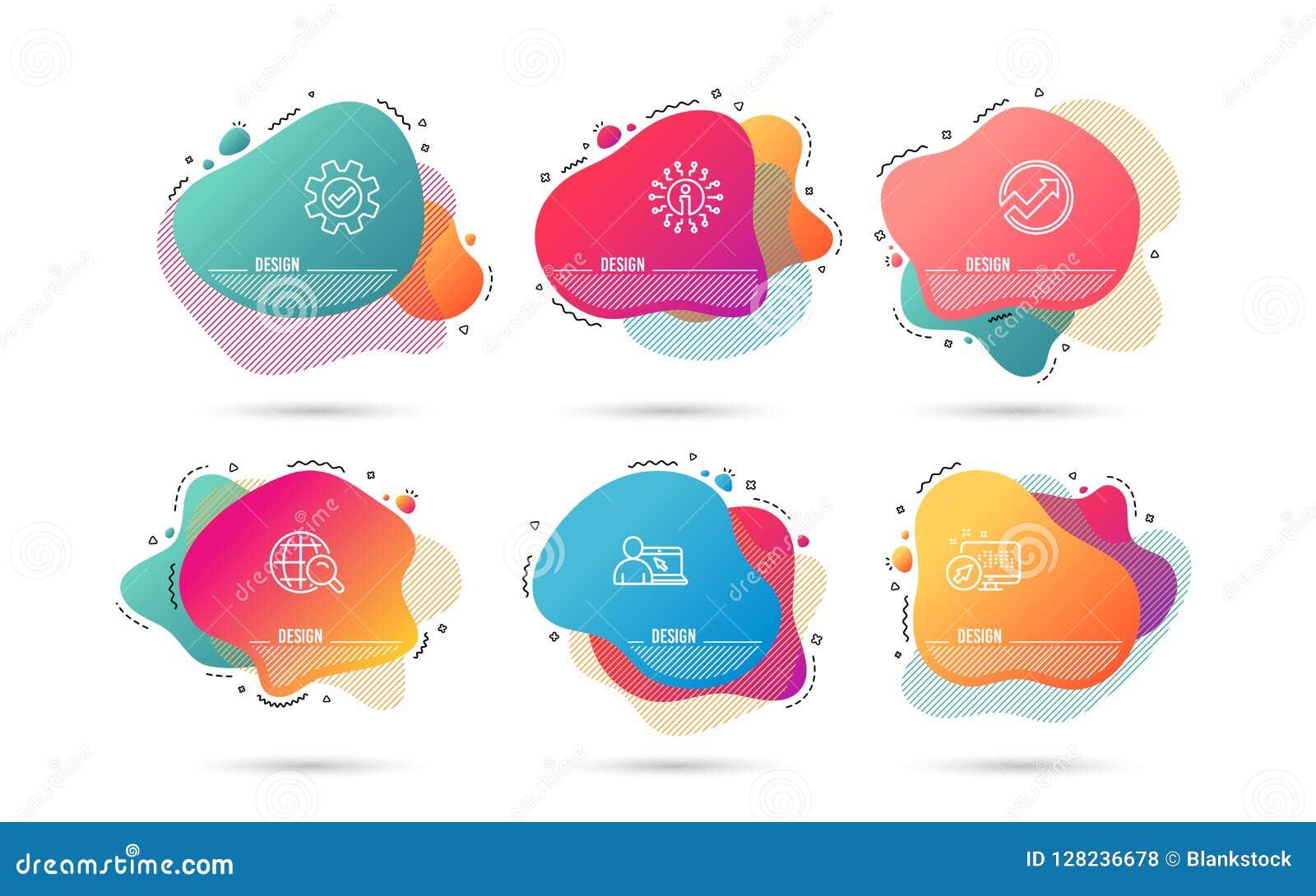 Internetsökande, revision och online-utbildningssymboler utför service tecknet Rengöringsdukupphittaren, pilgrafen, internet före
