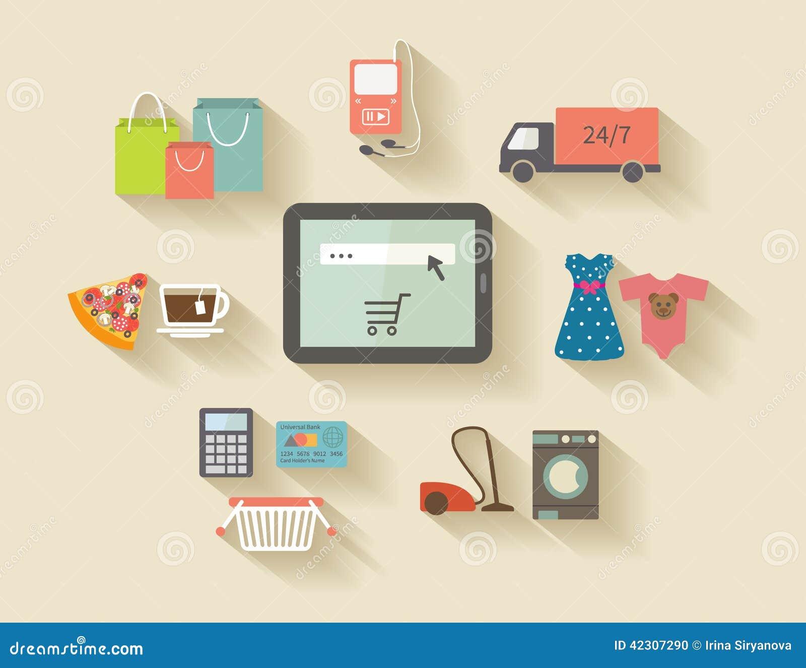 Internetshopping, e-kommers begrepp inställda symboler